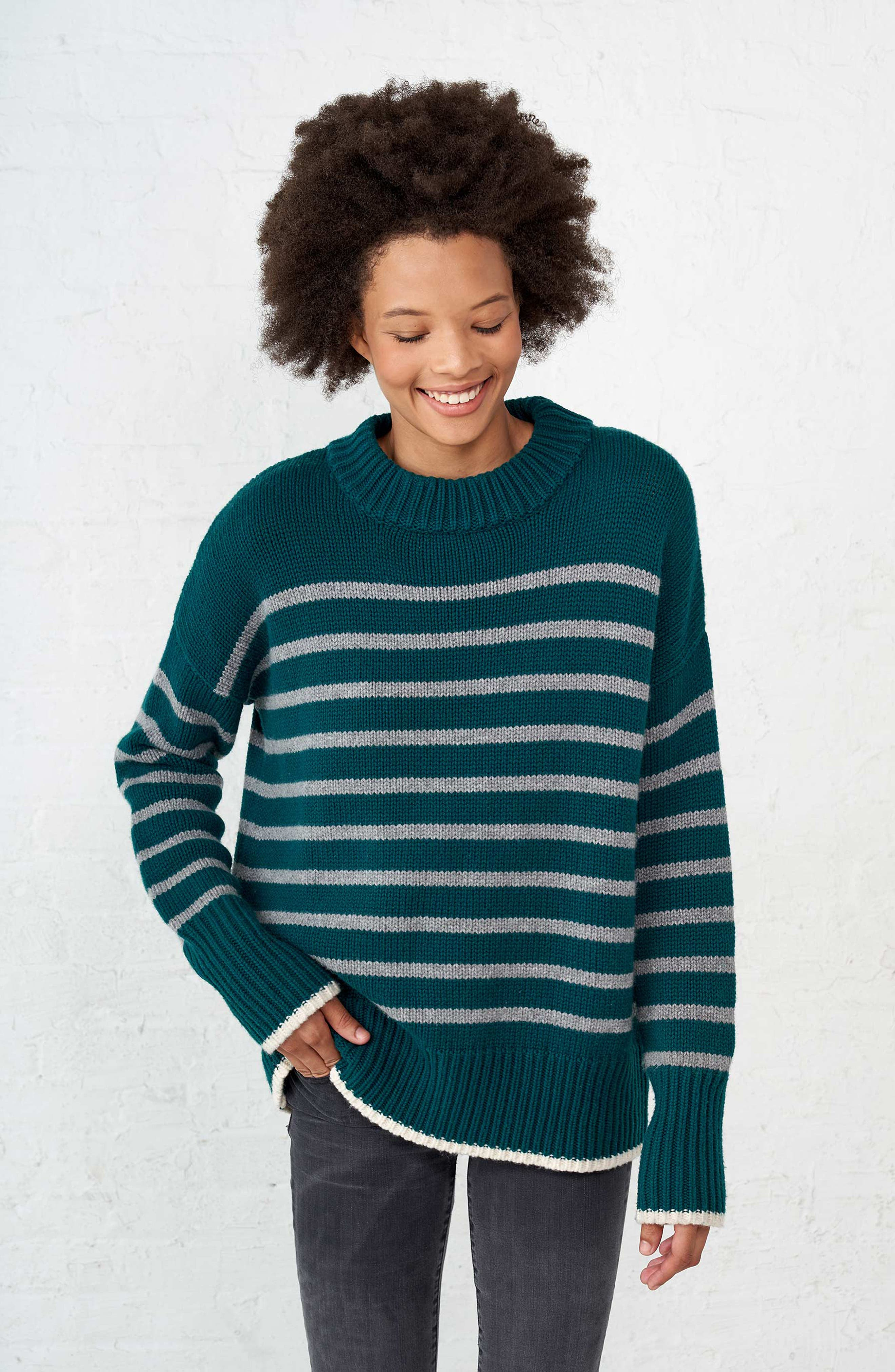 Marin Wool & Cashmere Sweater,                             Alternate thumbnail 8, color,                             FOREST GREEN/ GREY MARLE