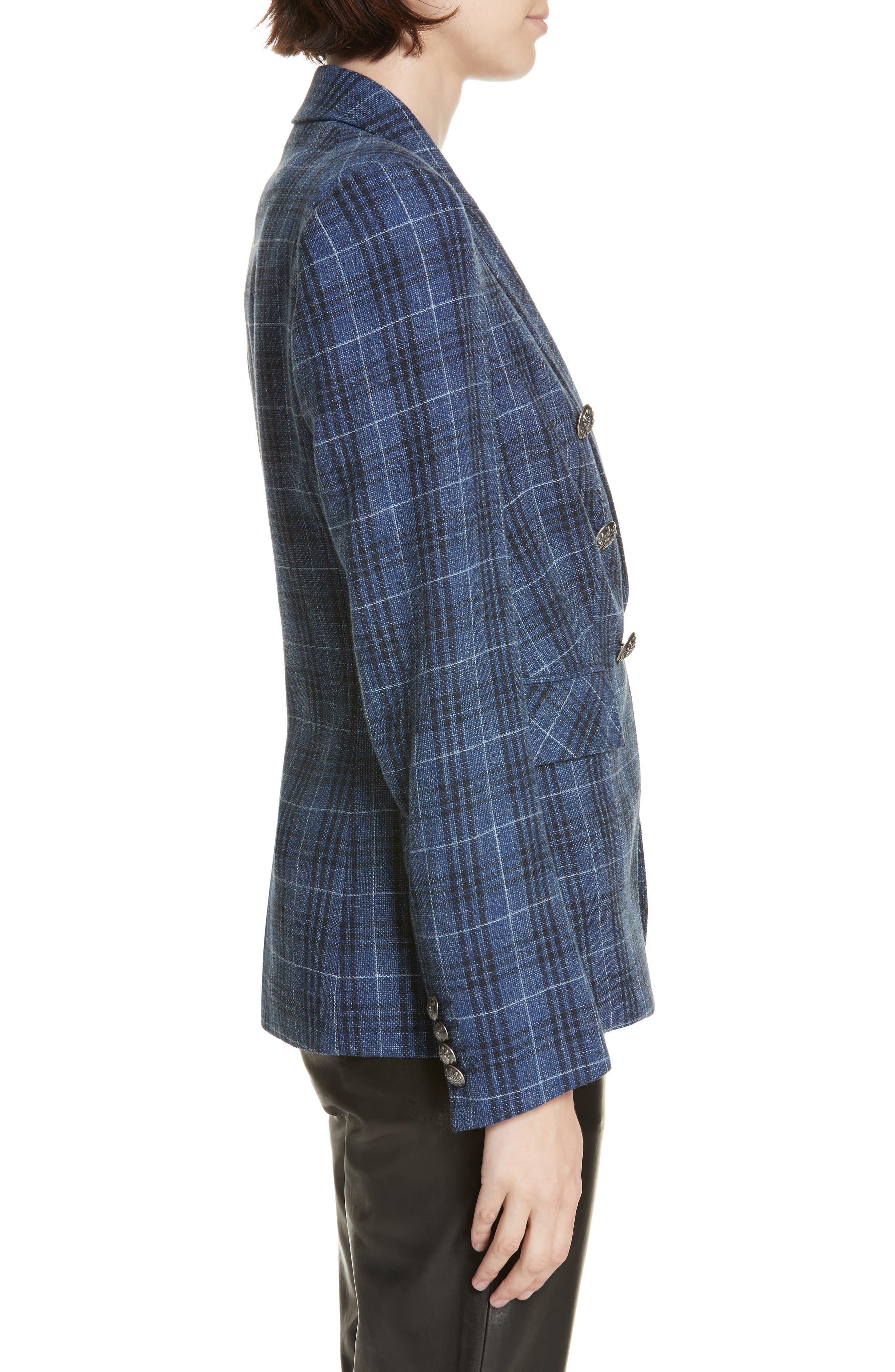 VERONICA BEARD,                             Miller Wool Blend Plaid Dickey Jacket,                             Alternate thumbnail 4, color,                             BLUE