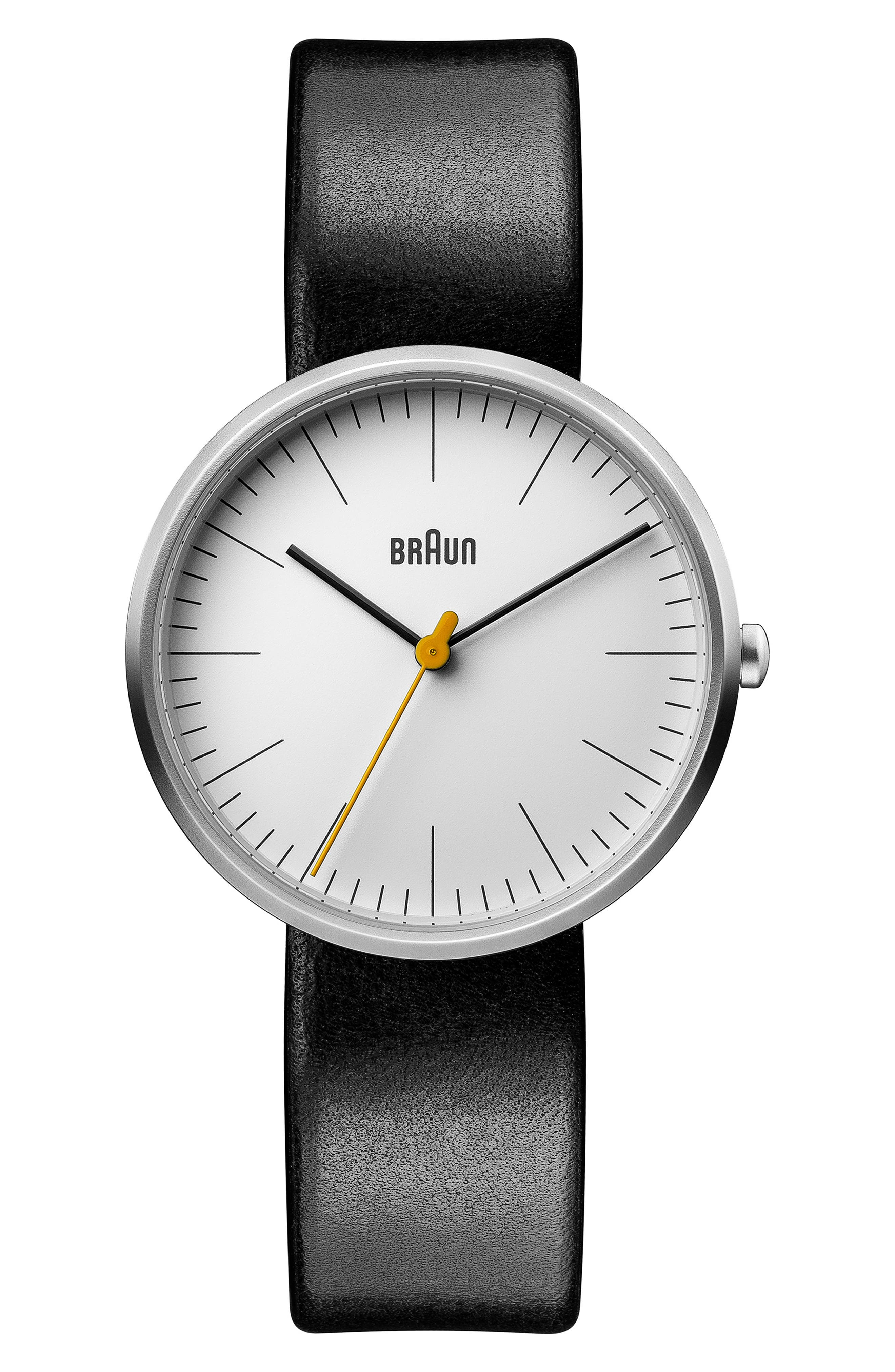 BRAUN Classic Leather Strap Watch, 38Mm in Black/ White/ Silver