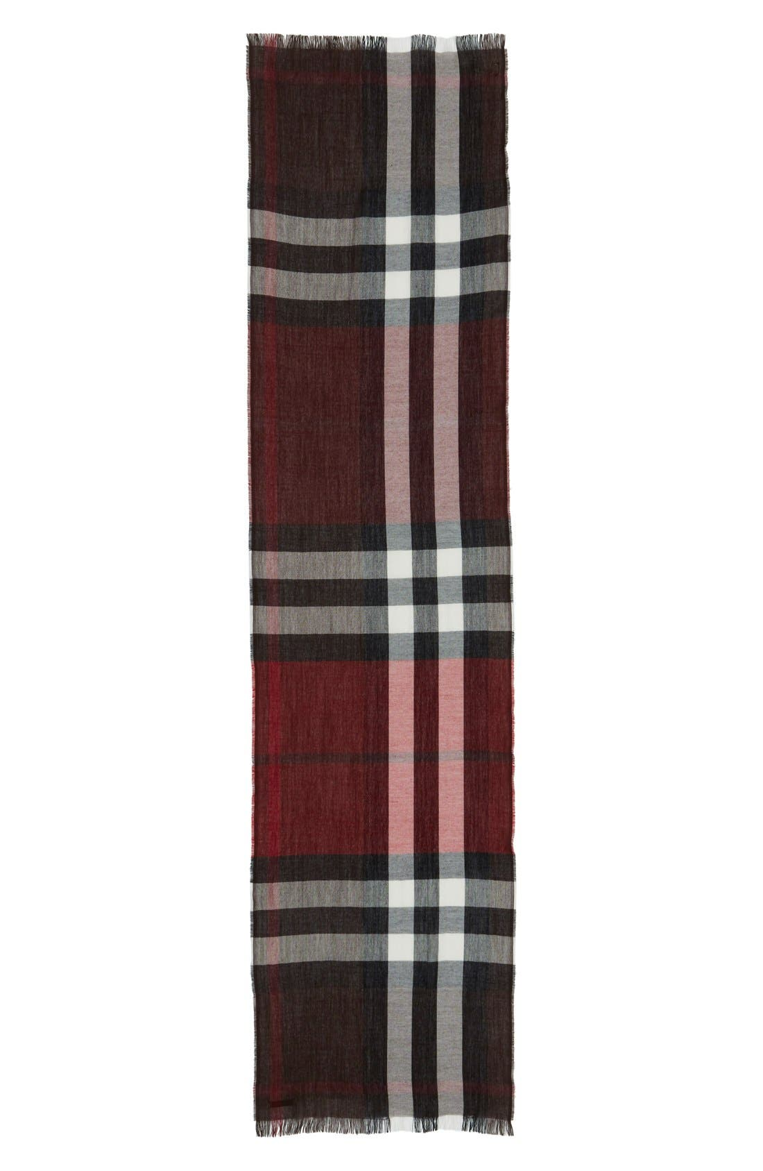 Check Wool & Cashmere Scarf,                             Alternate thumbnail 2, color,                             602
