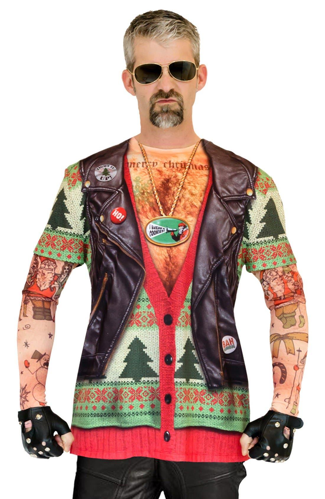 'Ugly Christmas Sweater - Biker Tattoo' Long Sleeve Novelty T-Shirt,                             Alternate thumbnail 2, color,                             300