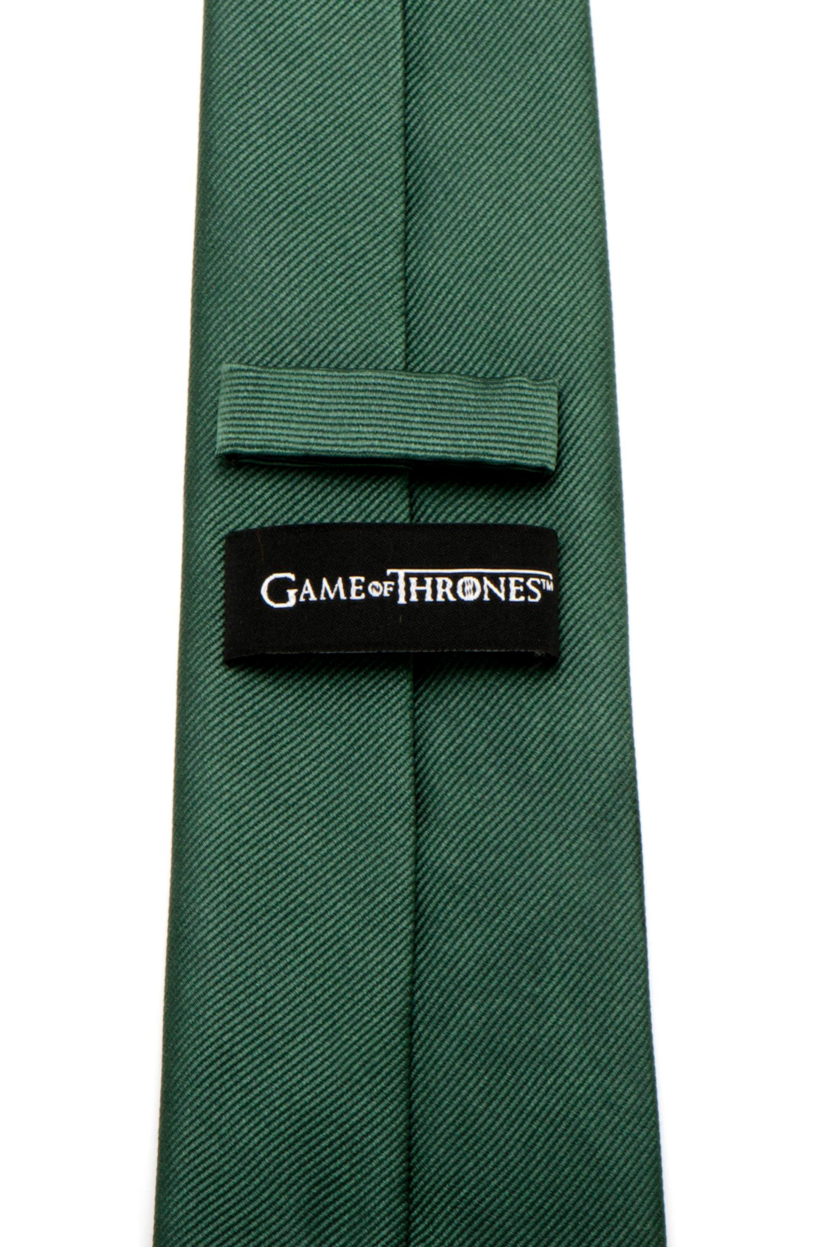 Game of Thrones Stark Silk Tie,                             Alternate thumbnail 4, color,                             GREEN