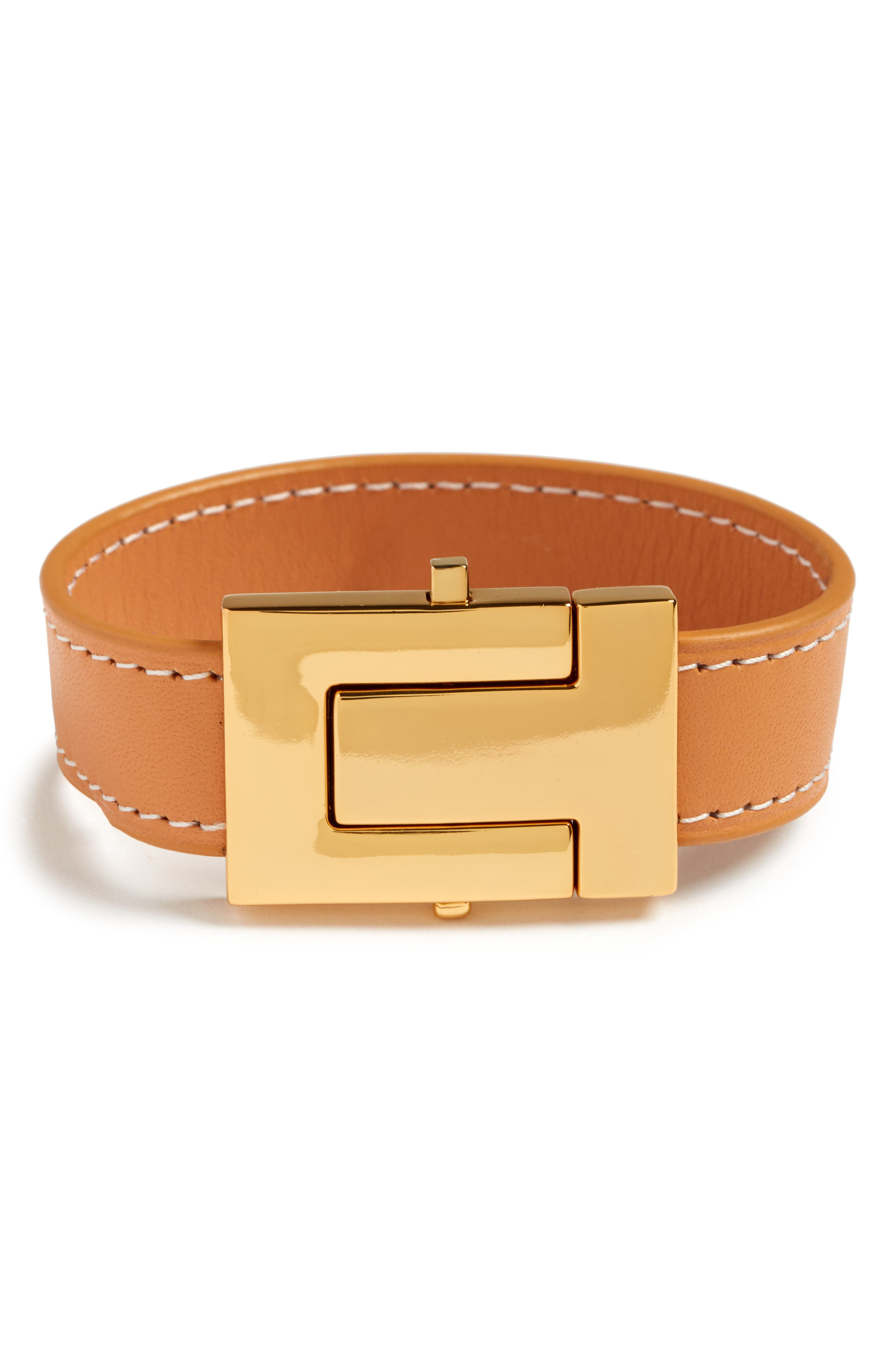 TORY BURCH,                             Leather Bracelet,                             Main thumbnail 1, color,                             VACHETTA/ TORY GOLD