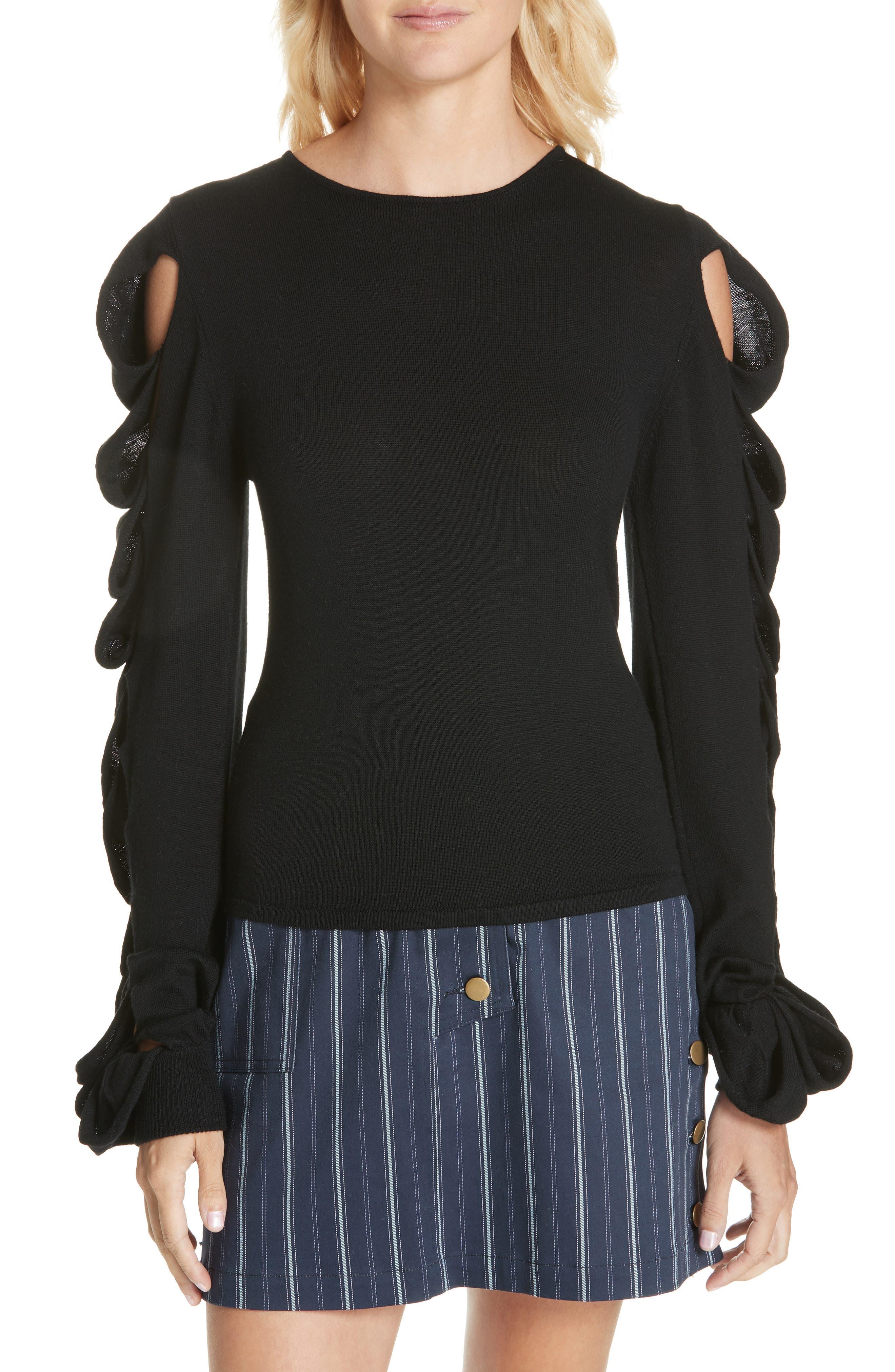 Amur Alana Merino Wool & Cashmere Sweater, Black