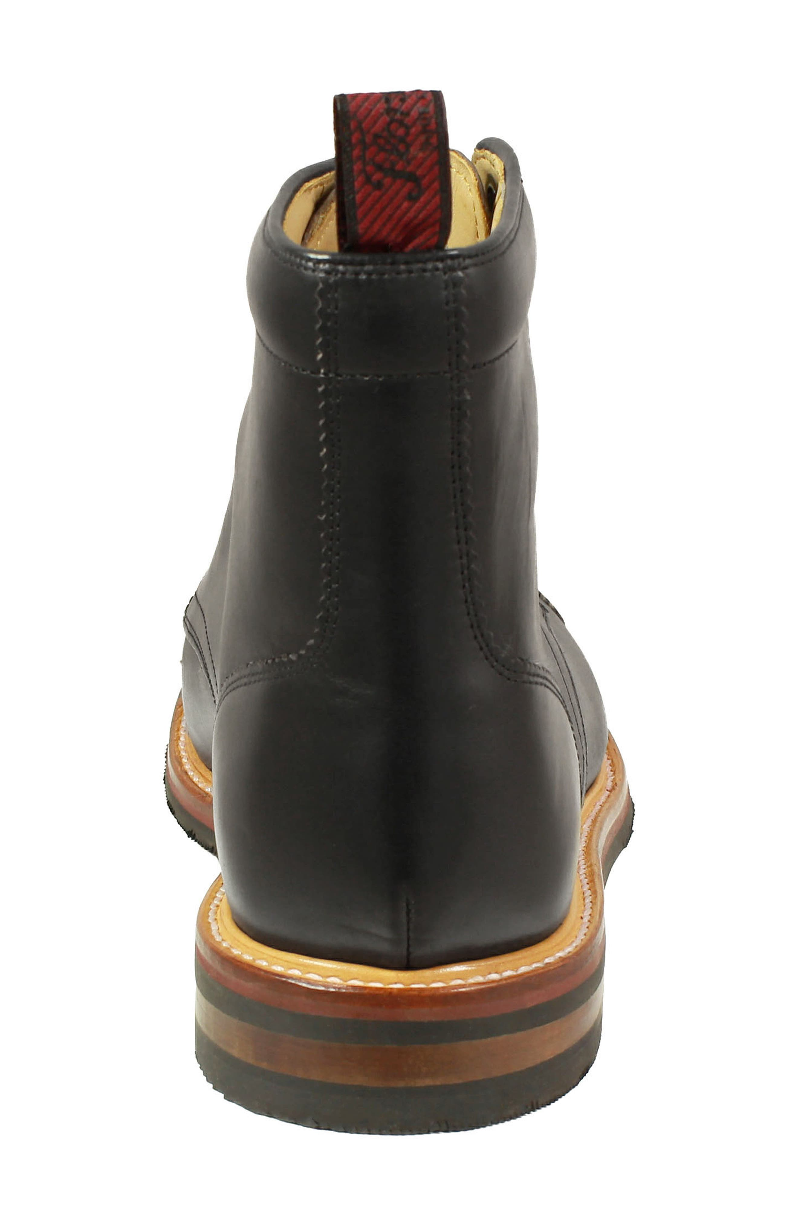 Founcry Cap Toe Boot,                             Alternate thumbnail 6, color,                             BLACK LEATHER