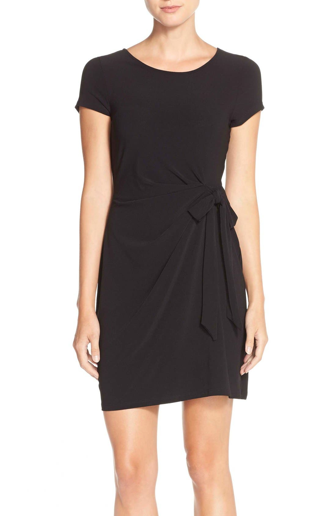 Side Tie Jersey Sheath Dress,                             Main thumbnail 1, color,                             BLACK