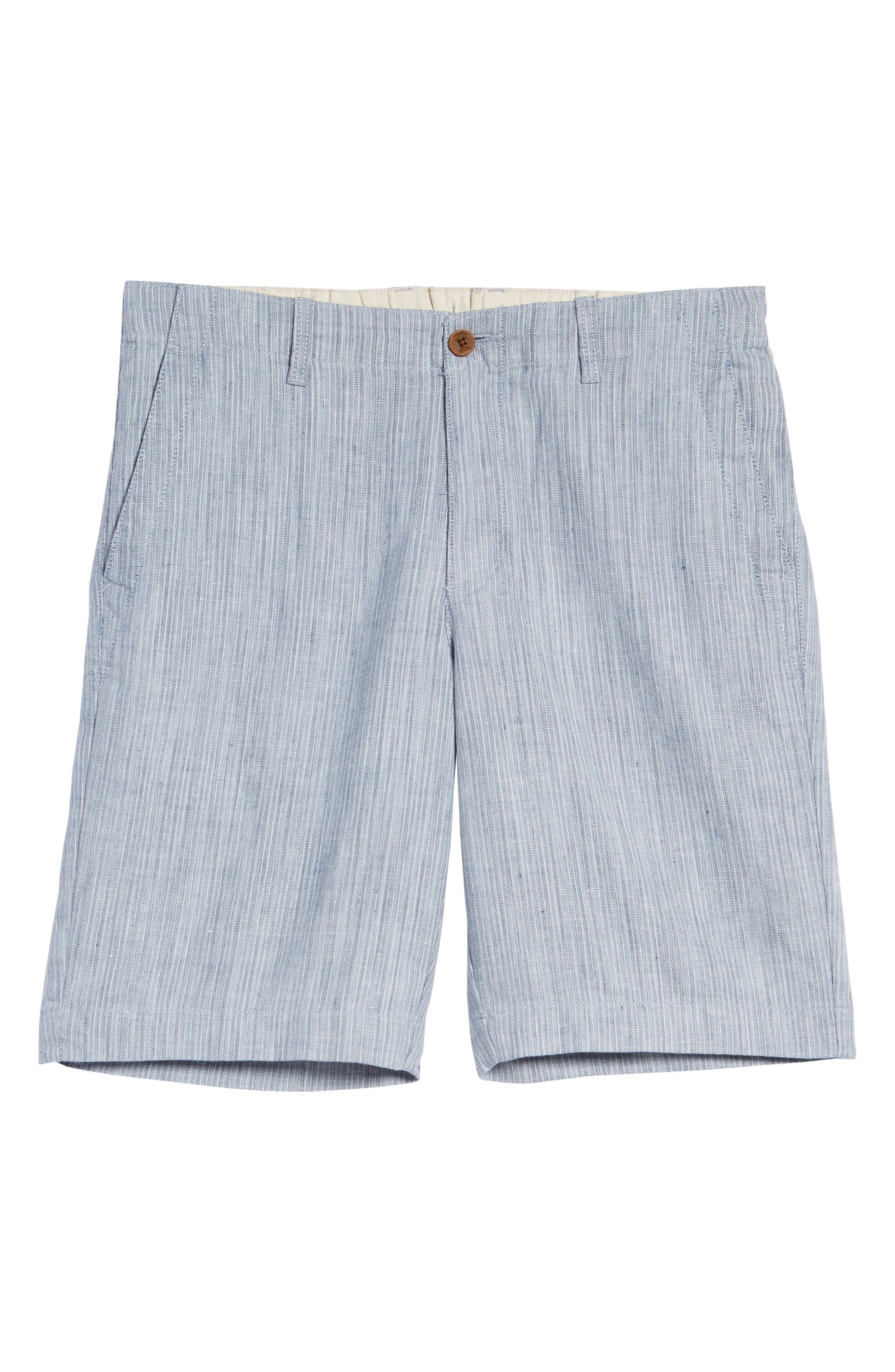 Harbor Herringbone Linen Blend Shorts,                             Alternate thumbnail 6, color,                             CHAMBRAY
