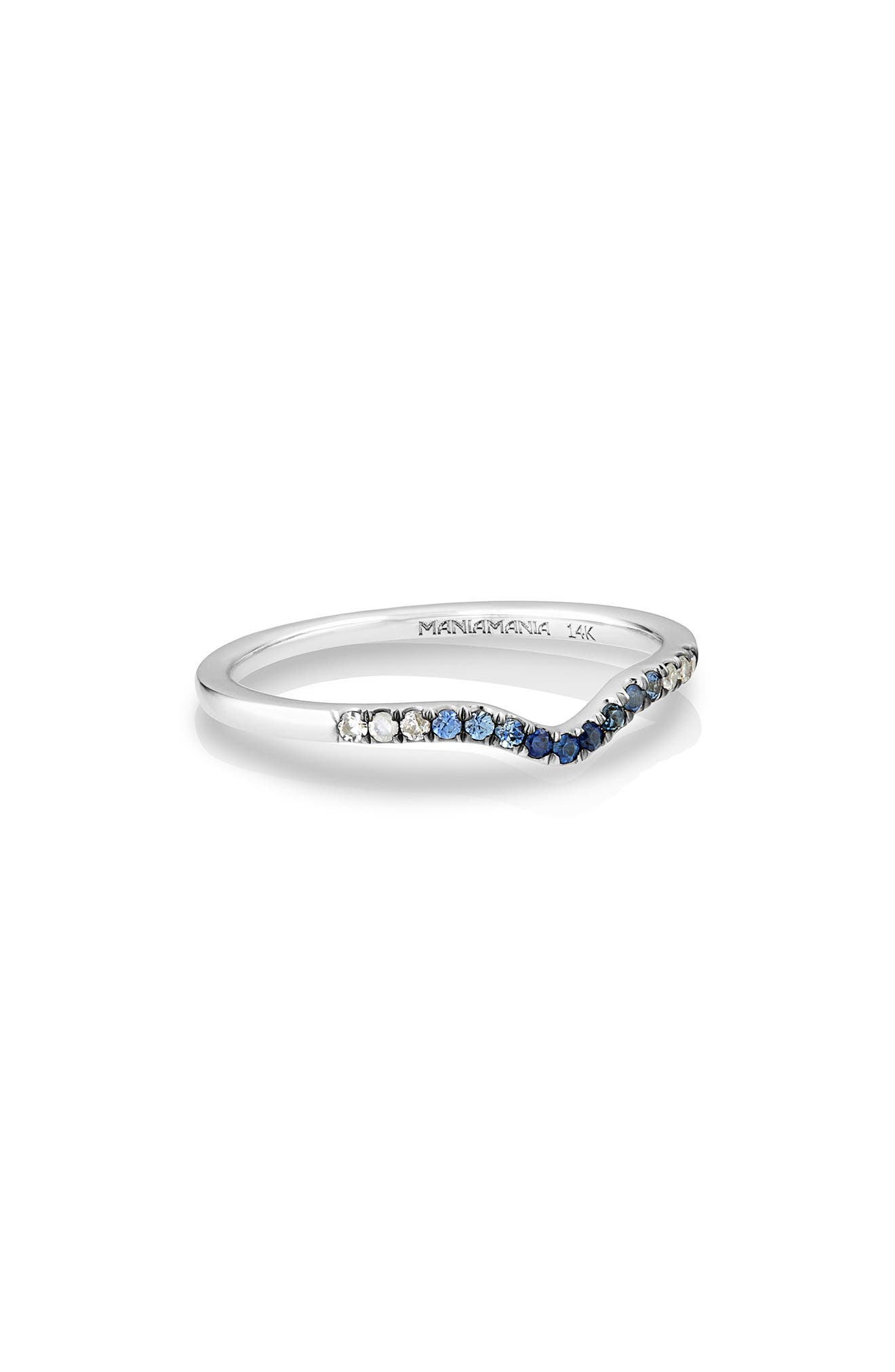 MANIAMANIA,                             Unity Gradient Sapphire Band Ring,                             Main thumbnail 1, color,                             BLUE SAPPHIRE/ WHITE GOLD