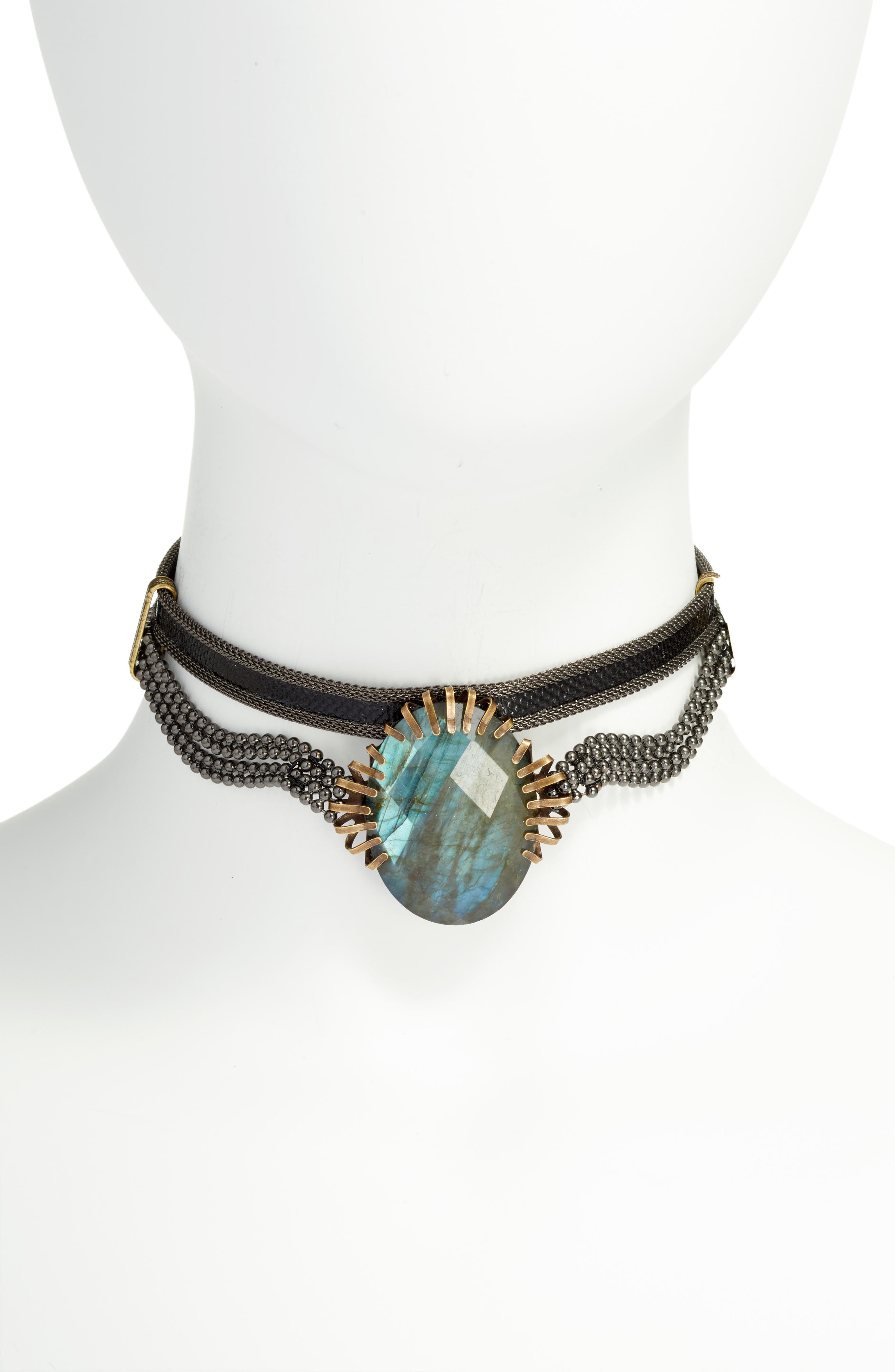 Stone & Snakeskin Necklace,                         Main,                         color,
