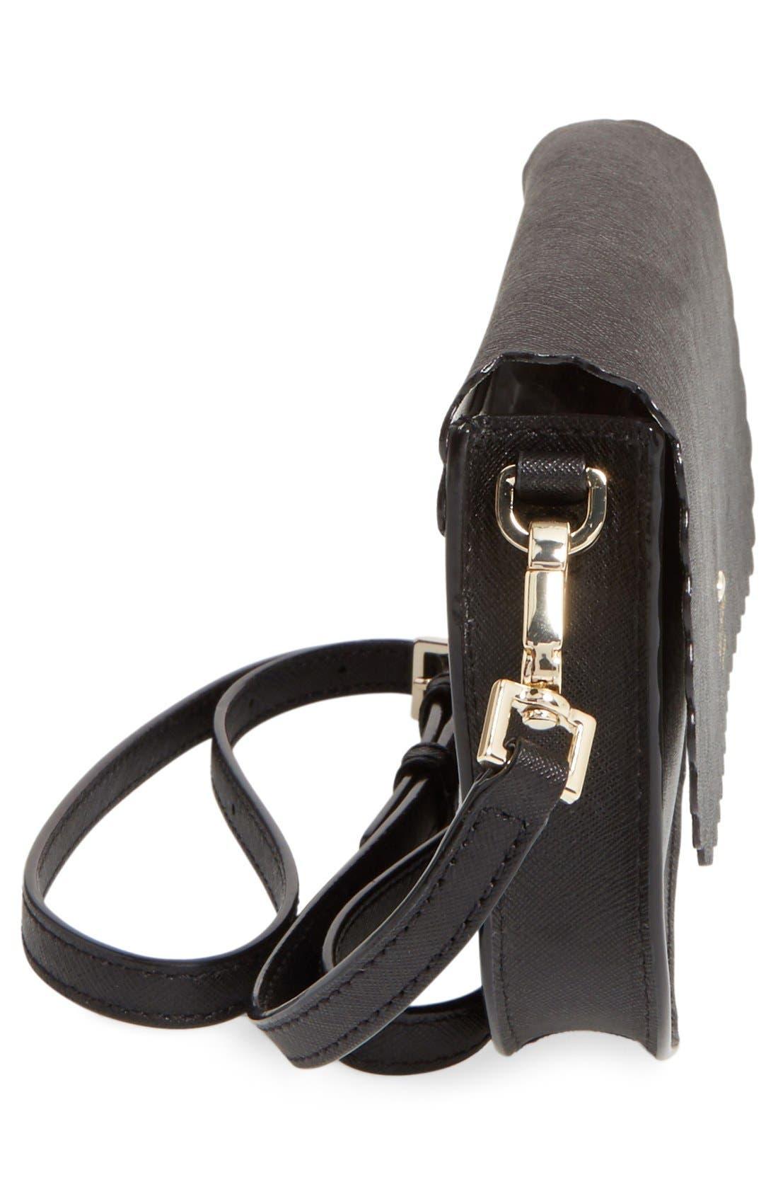 'cape drive - jettie' scalloped leather crossbody bag,                             Alternate thumbnail 2, color,                             001