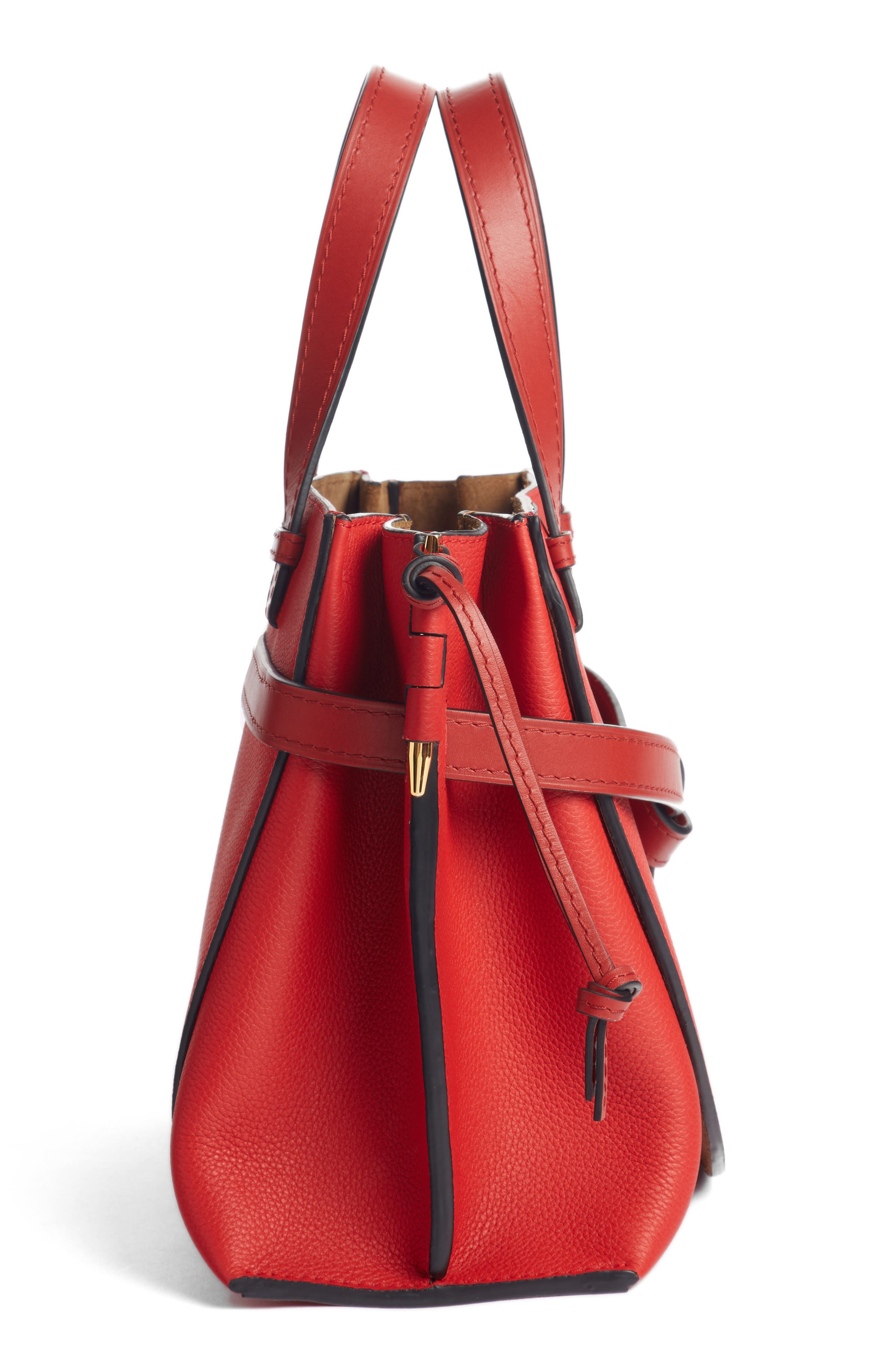 Gate Calfskin Leather Tote,                             Alternate thumbnail 4, color,                             SCARLET RED/ BURNT RED