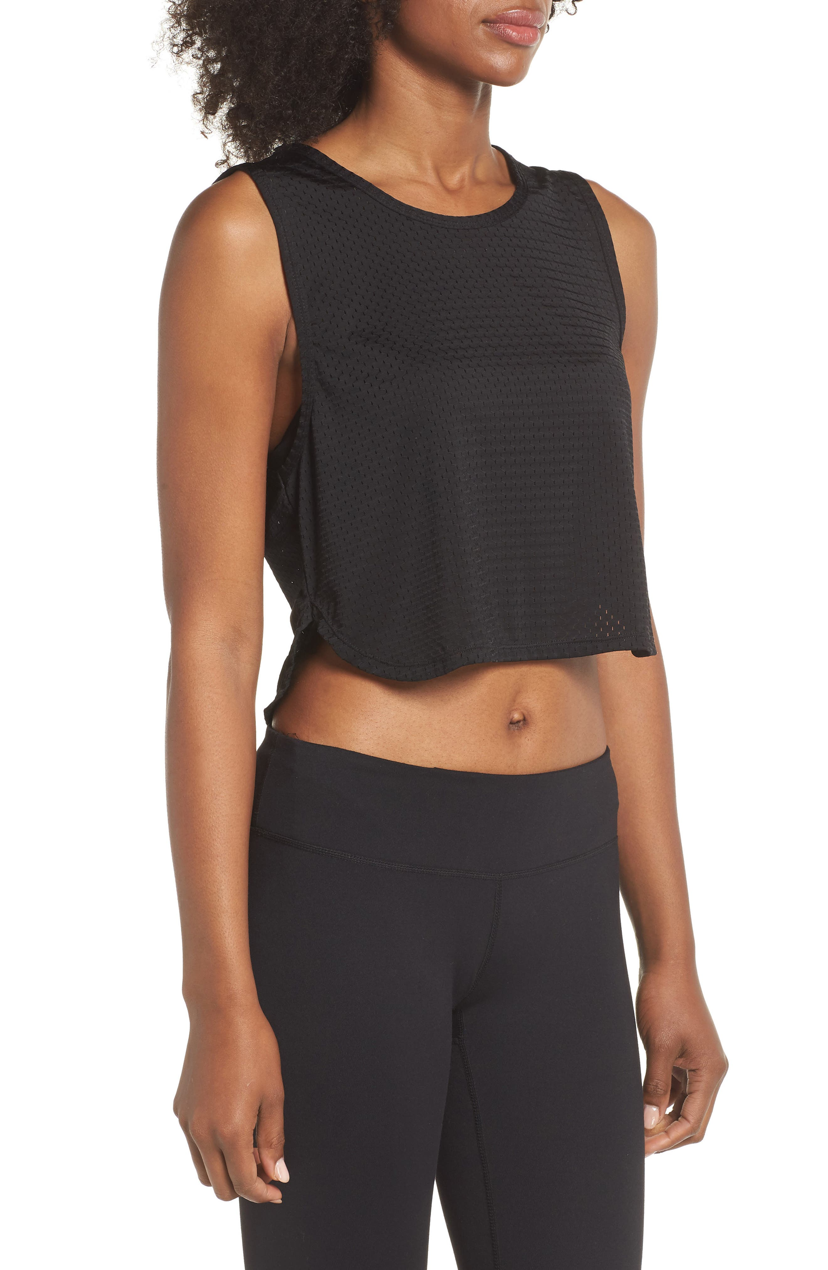 Leona Crop Tank,                             Alternate thumbnail 3, color,                             BLACK