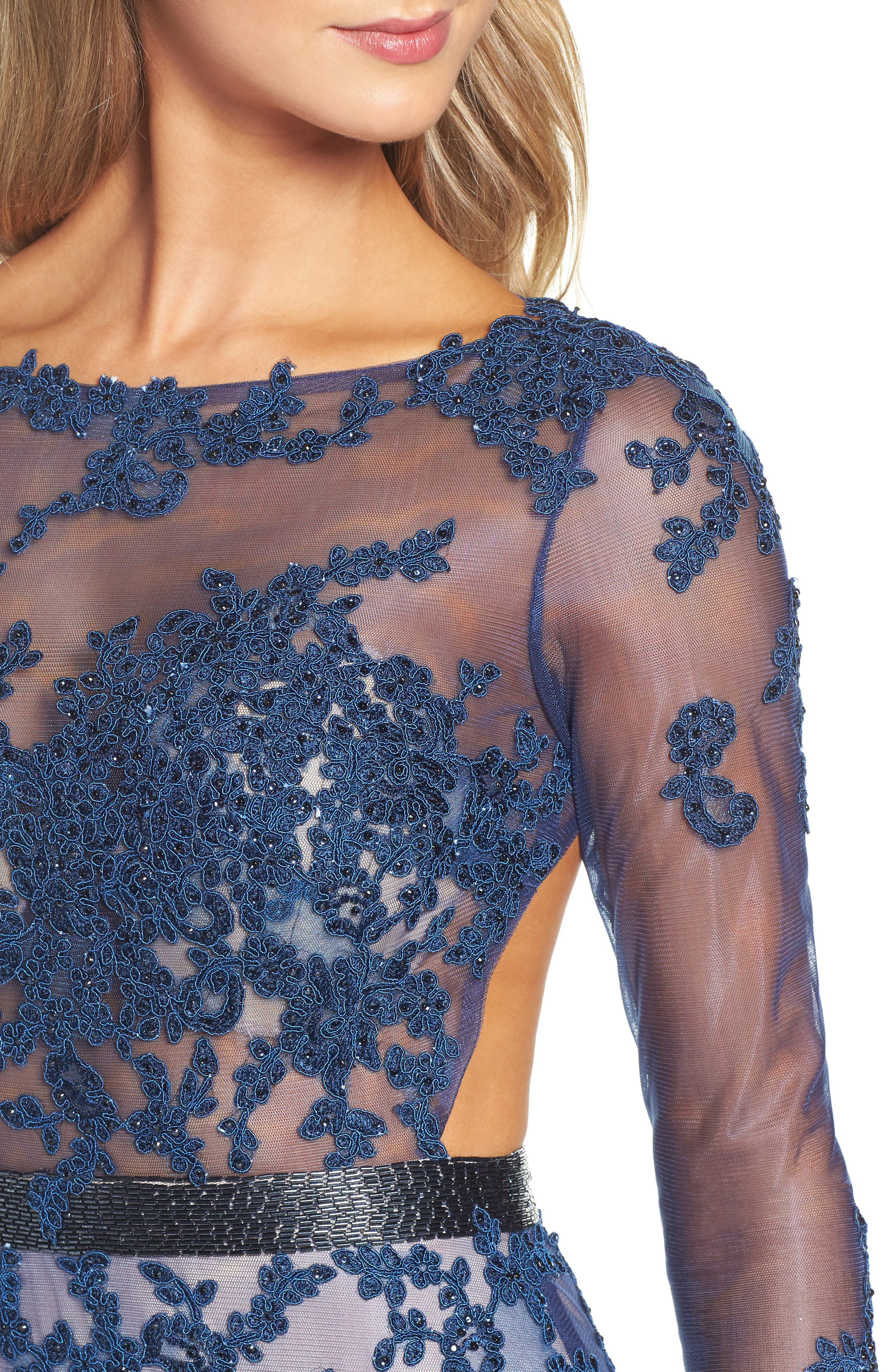 Open Back Embroidered Tulle Gown,                             Alternate thumbnail 7, color,