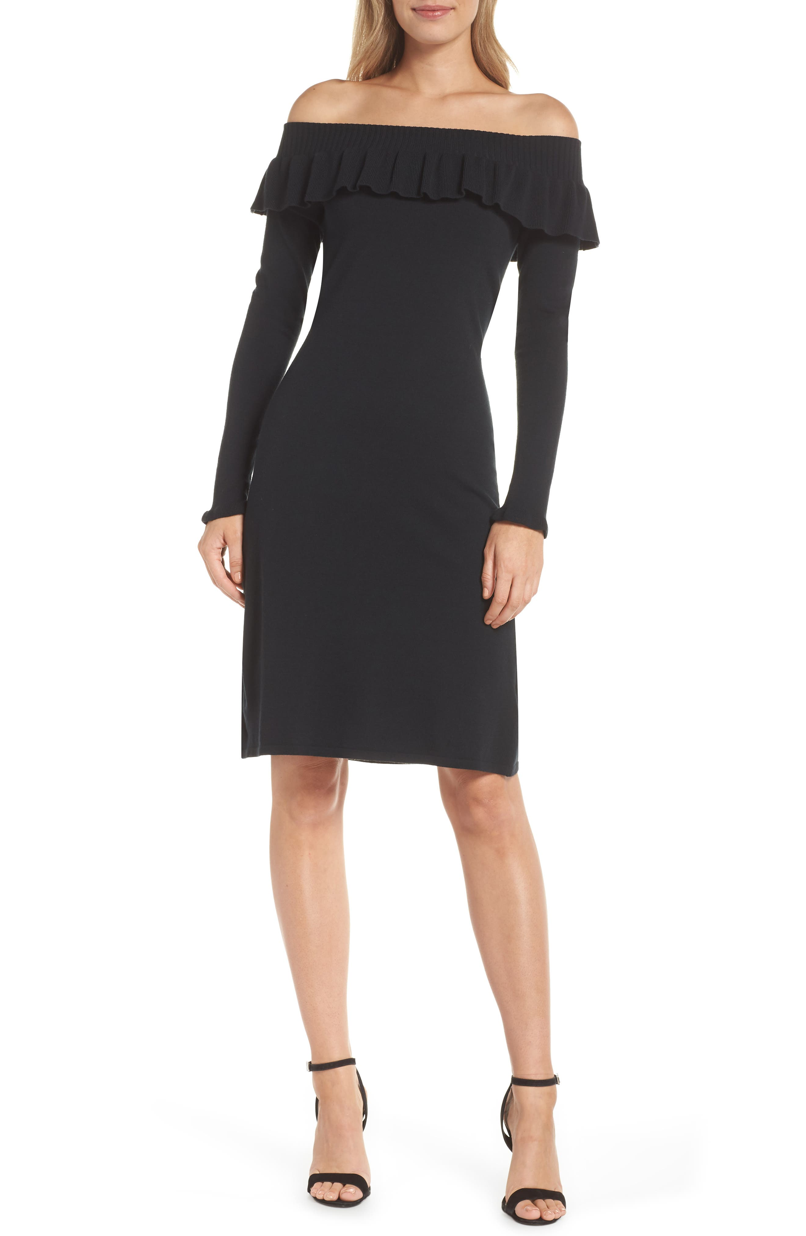 Lilly Pulitzer Moda Off The Shoulder Sweater Dress, Black