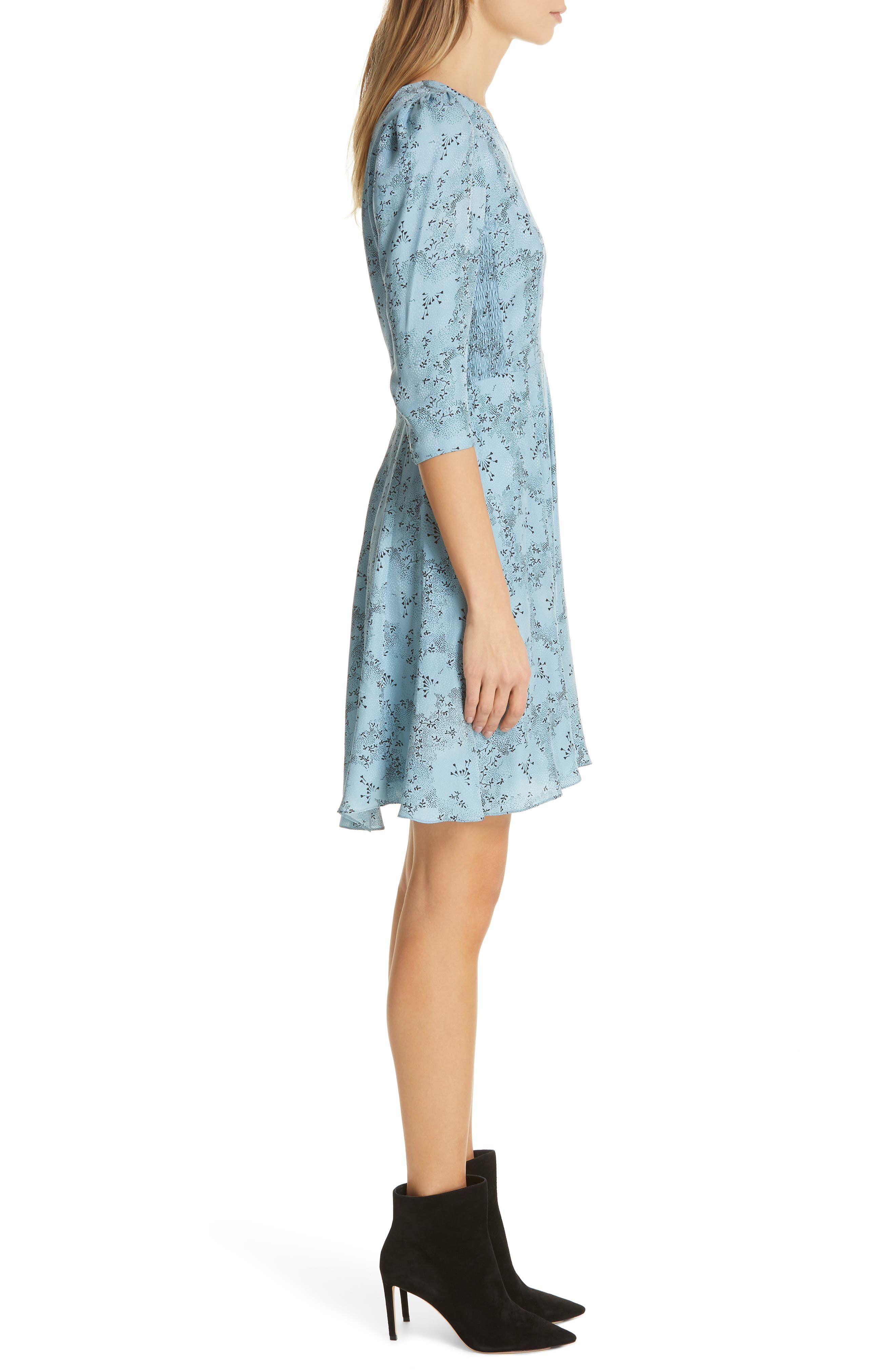 Gianna Floral Silk Dress,                             Alternate thumbnail 3, color,                             LAGOON COMBO