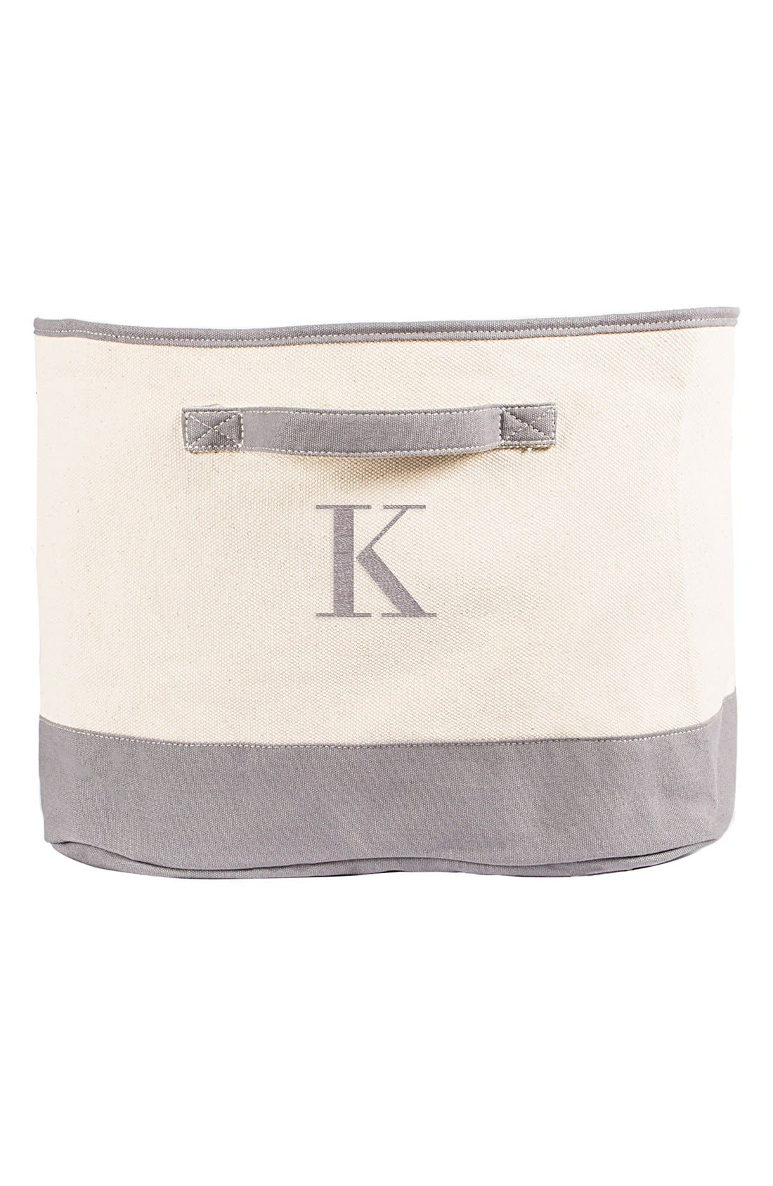 Monogram Square Canvas Bin,                             Alternate thumbnail 4, color,                             035