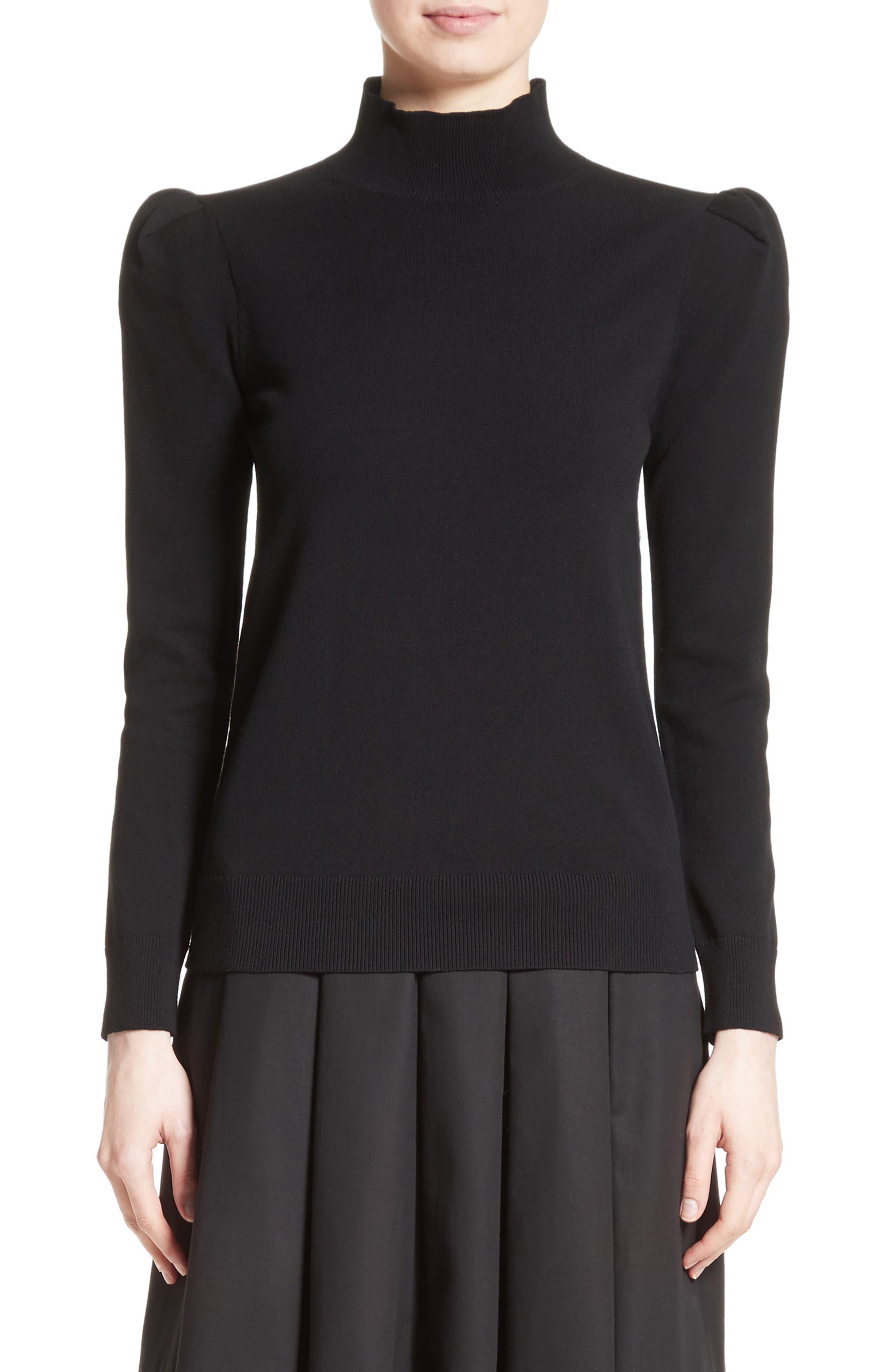 Cashmere Puff Shoulder Turtleneck Sweater,                         Main,                         color, 001