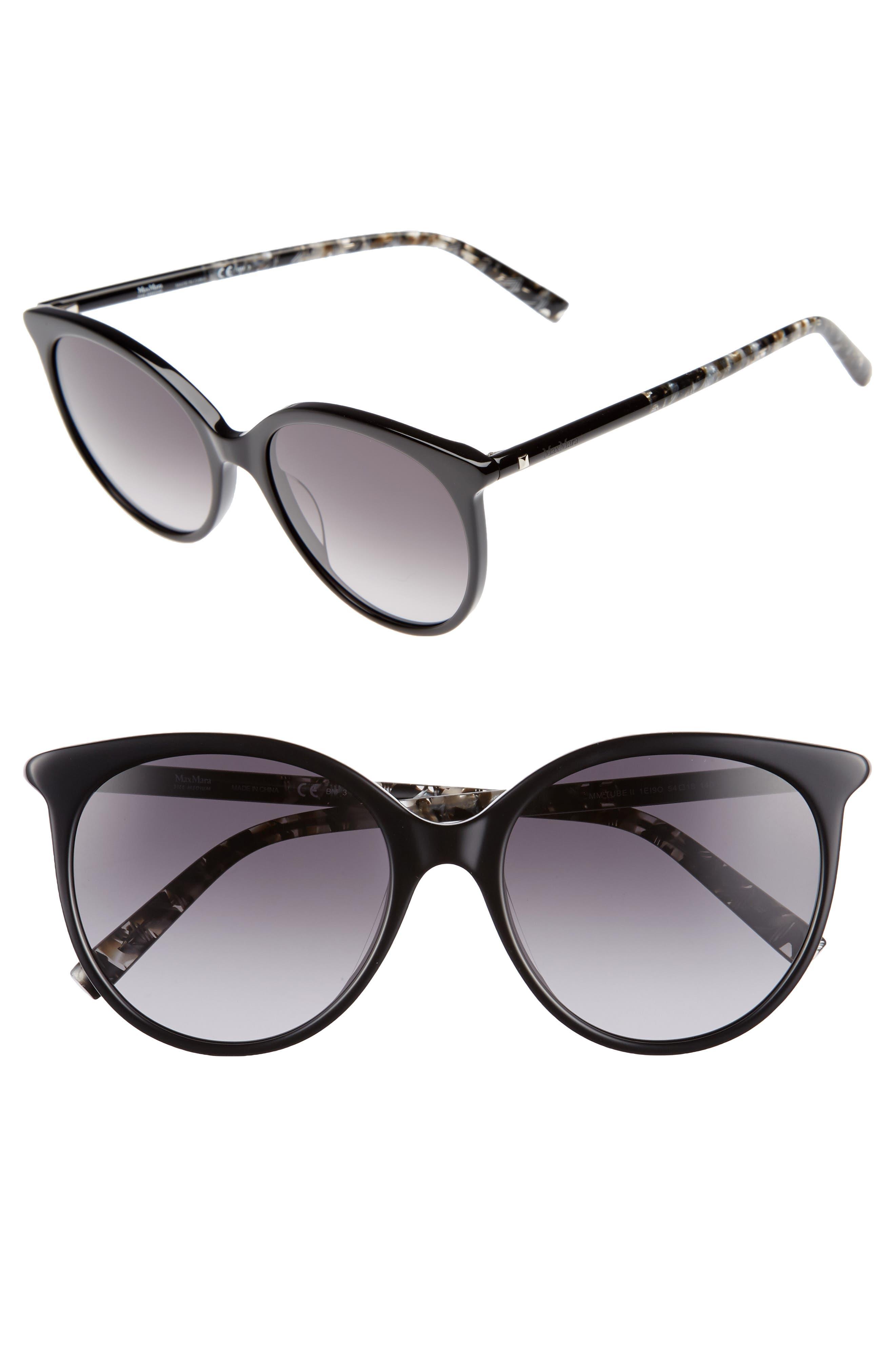 Tube 54mm Gradient Lens Cat Eye Sunglasses,                             Main thumbnail 1, color,                             BLACK/ GREY