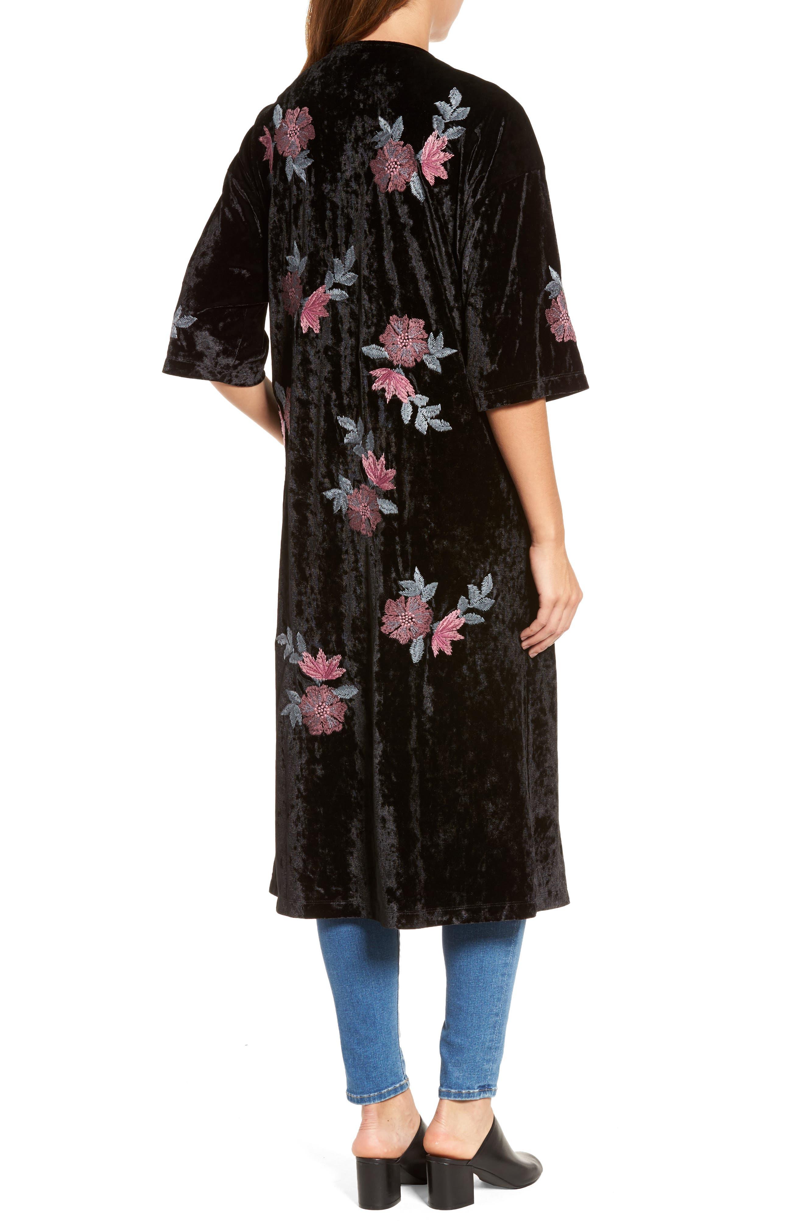 Floral Velvet Long Jacket,                             Alternate thumbnail 2, color,                             001