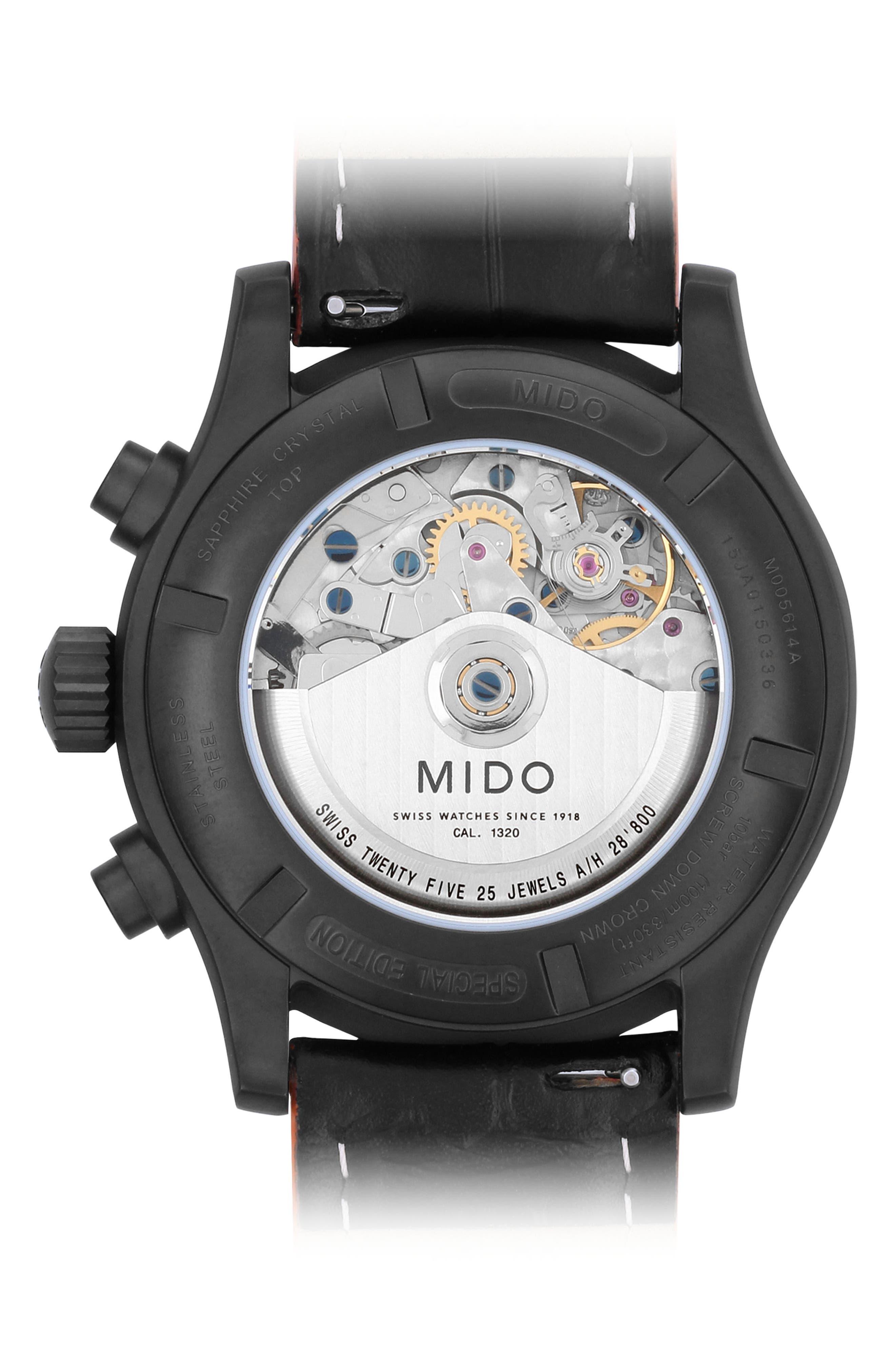 Multifort Automatic Chronograph Leather Strap Watch, 44mm,                             Alternate thumbnail 2, color,                             BLACK/ ORANGE