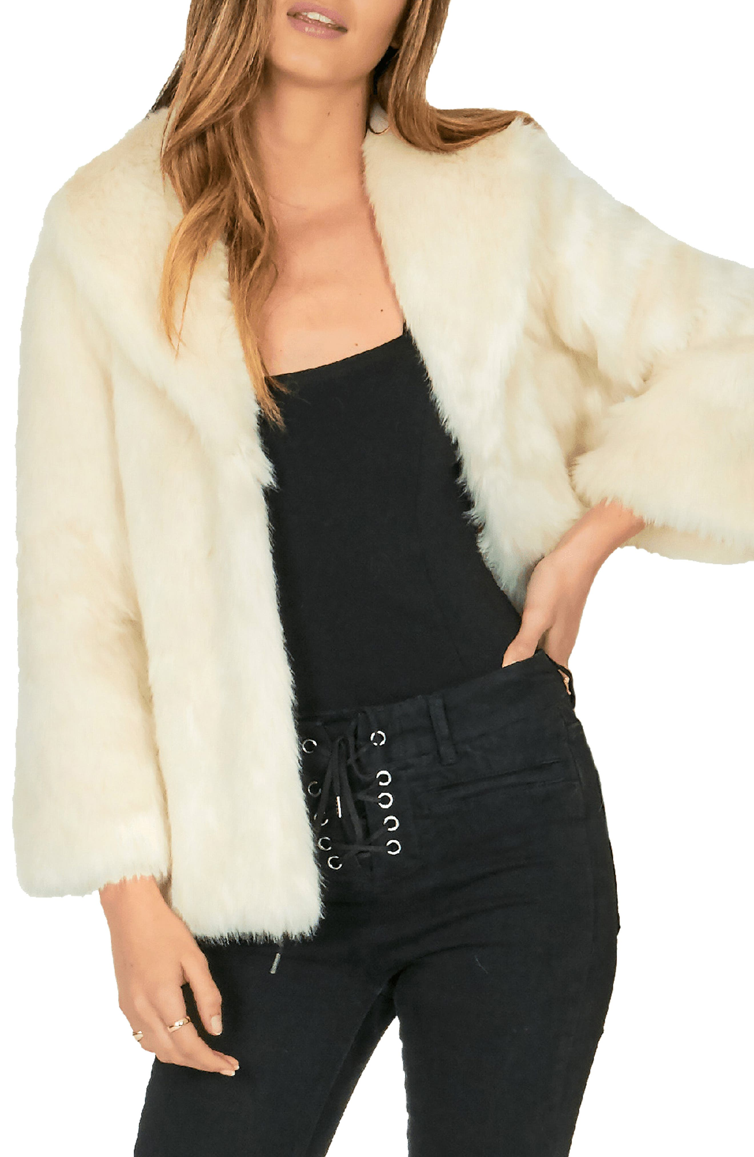 AMUSE SOCIETY Furever Mine Faux Fur Jacket in Natural