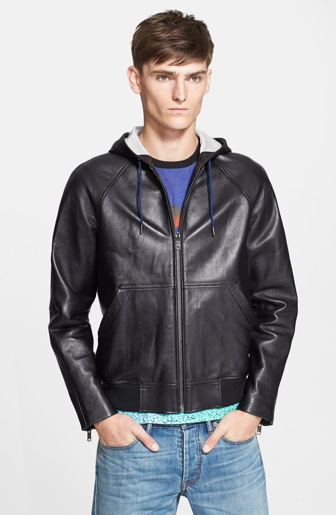 Hooded Leather Jacket, Main, color, 001