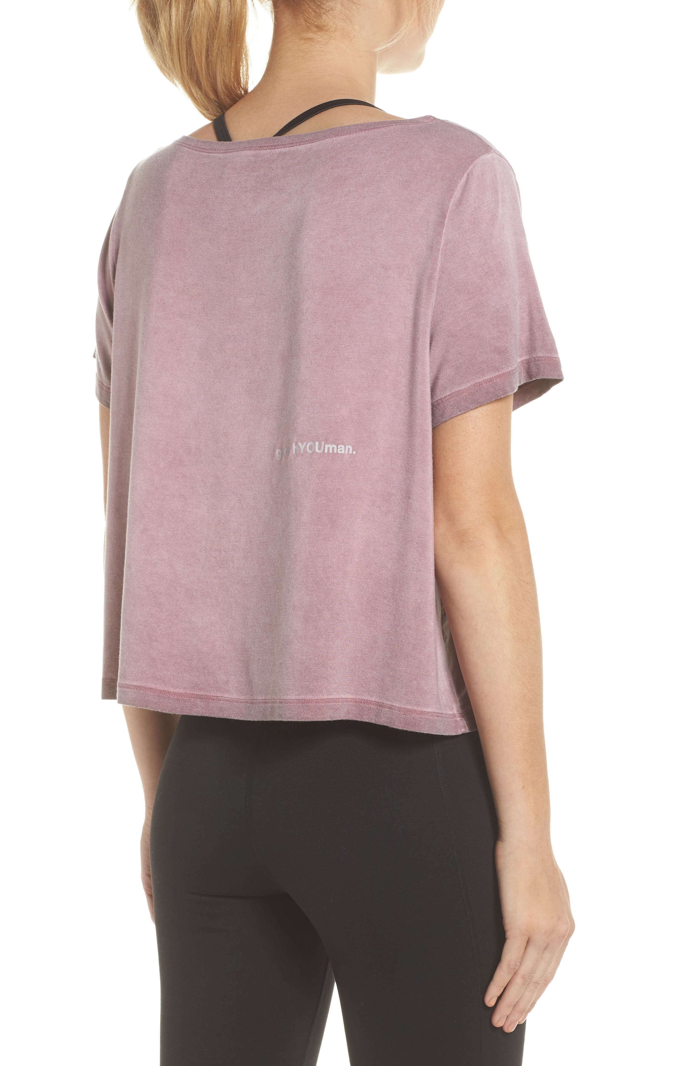 Payton Love Yourself Crop Tee,                             Alternate thumbnail 2, color,                             ROSEWOOD OIL WASH