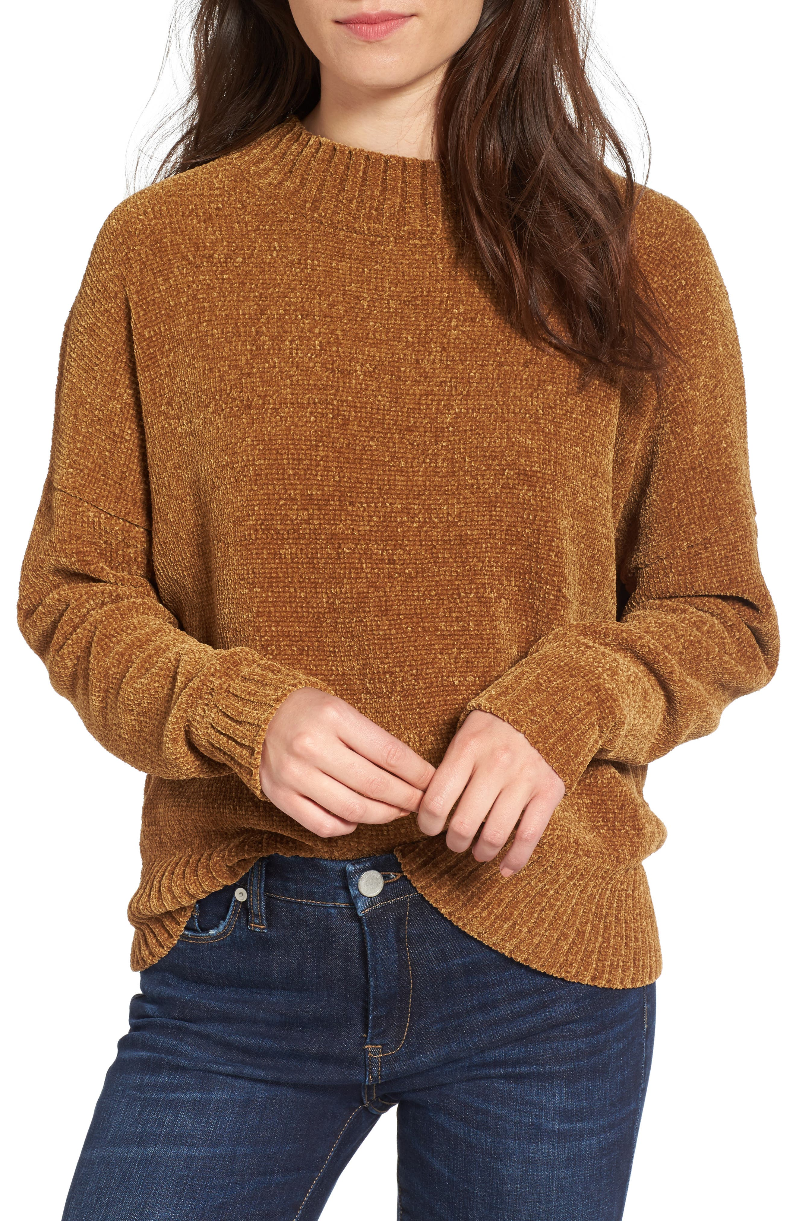 Chenille Funnel Neck Sweater,                             Main thumbnail 2, color,