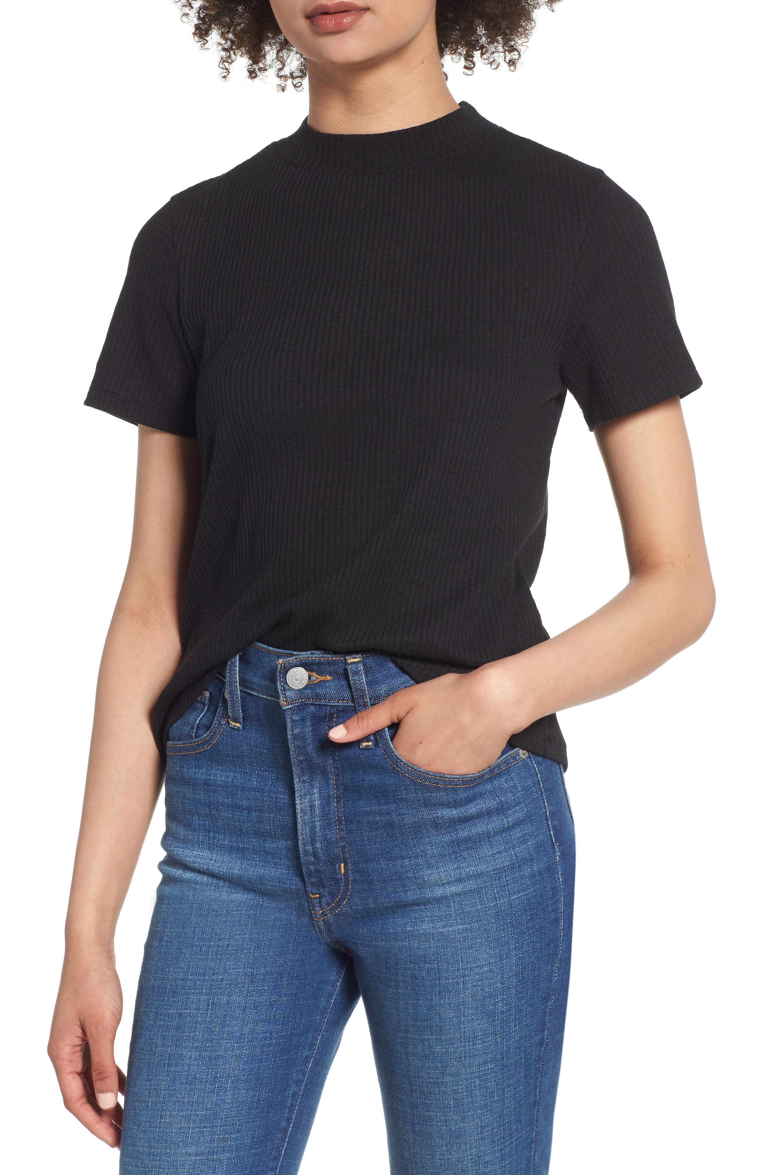 Mock Neck Slouch Tee,                         Main,                         color, BLACK