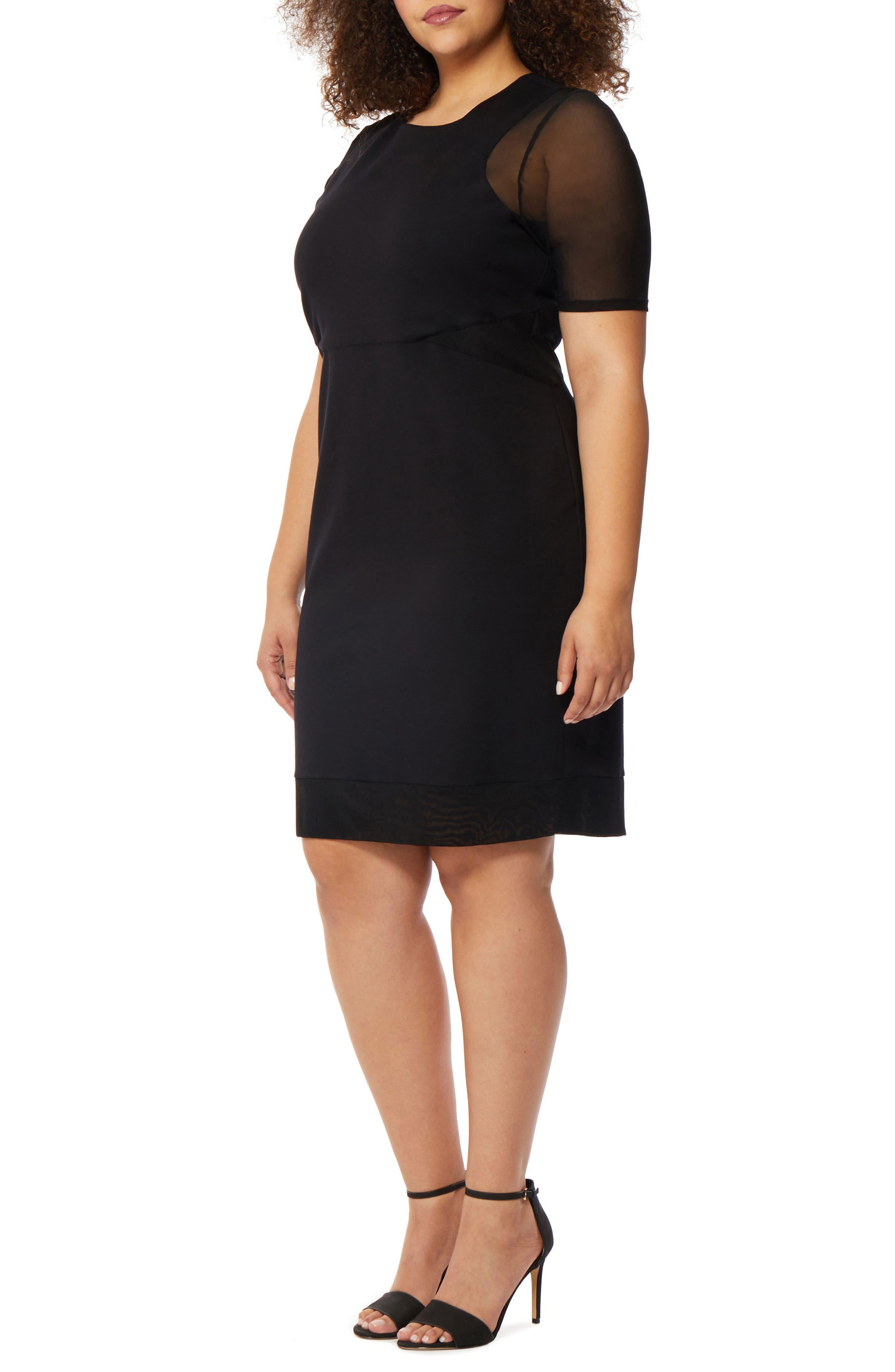 Mesh Sleeve Body-Con Dress,                         Main,                         color, BLACK