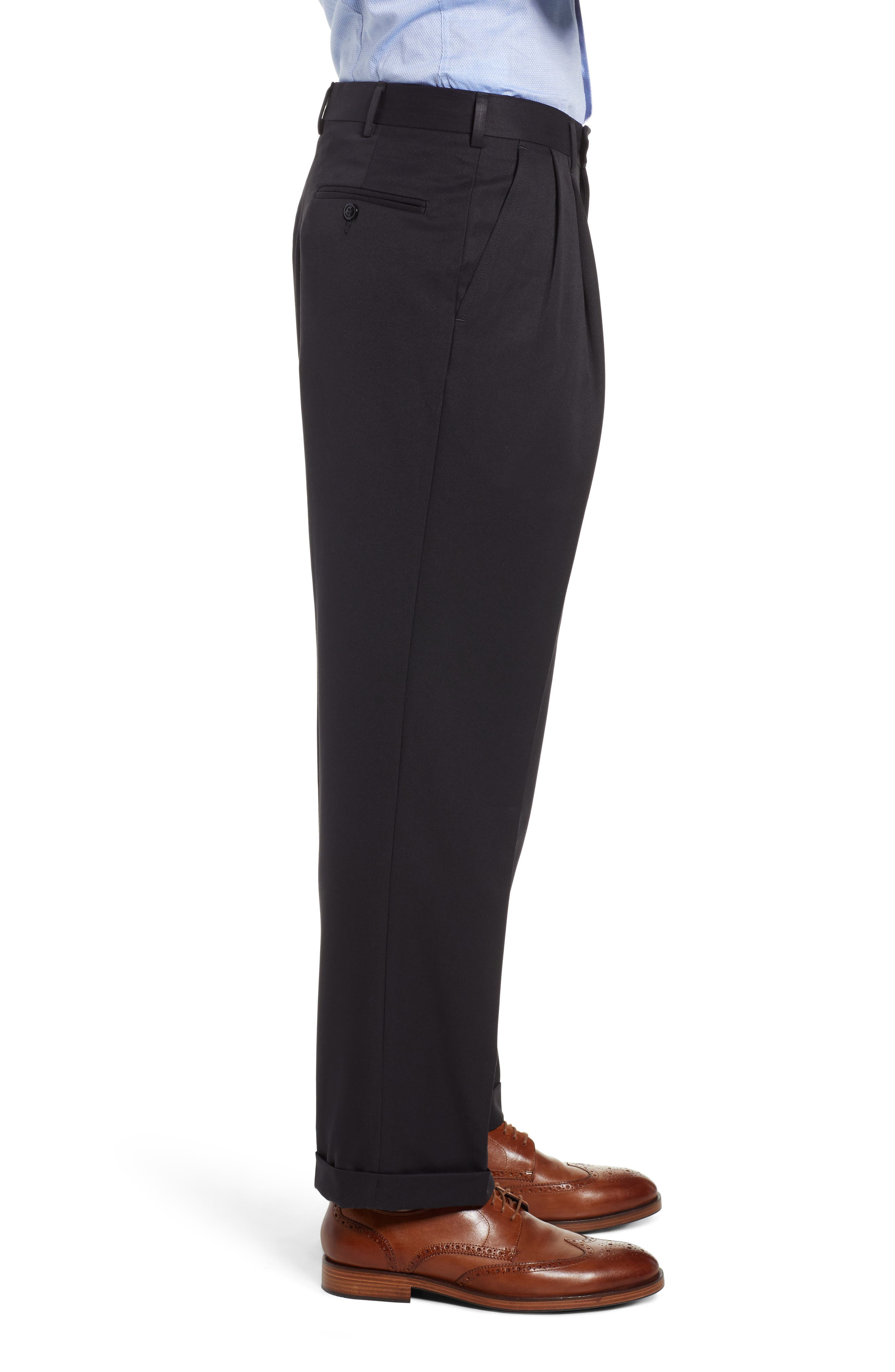 Classic Fit Pleated Microfiber Performance Trousers,                             Alternate thumbnail 3, color,                             BLACK