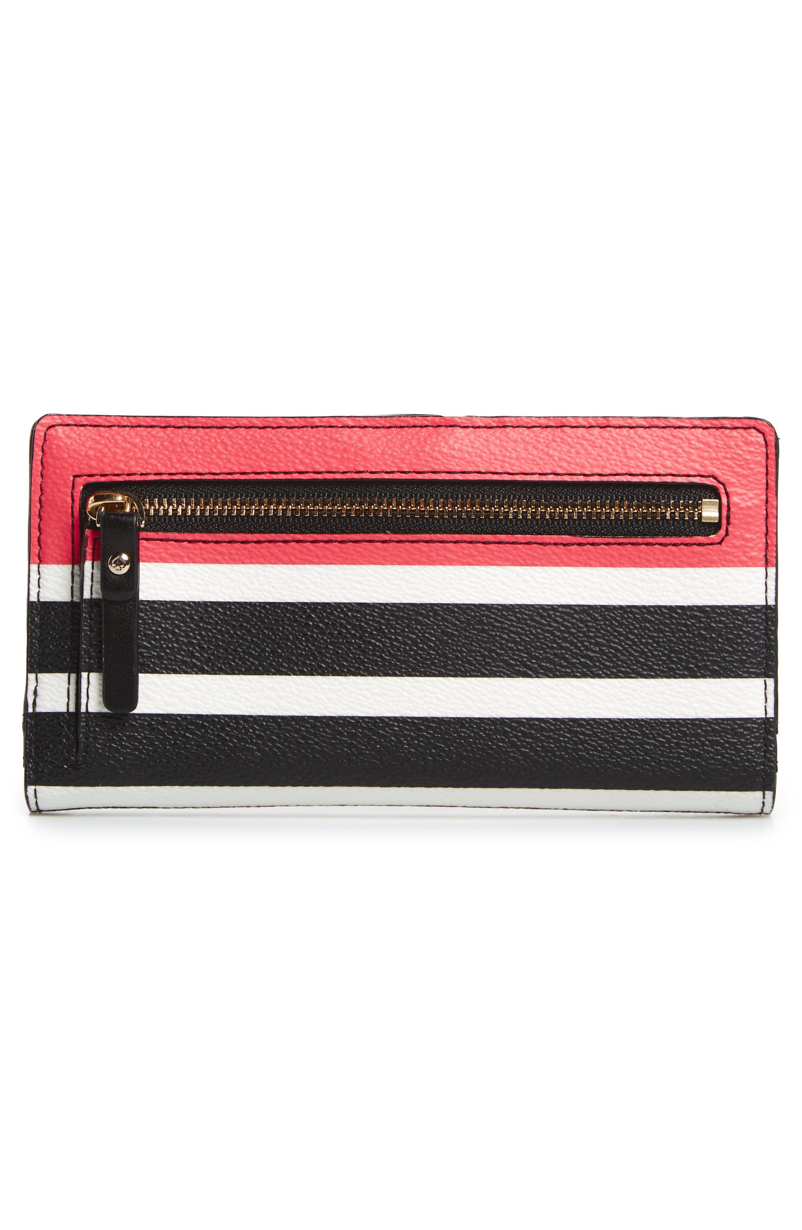 hyde lane - stripe faux leather stacy wallet,                             Alternate thumbnail 4, color,                             001