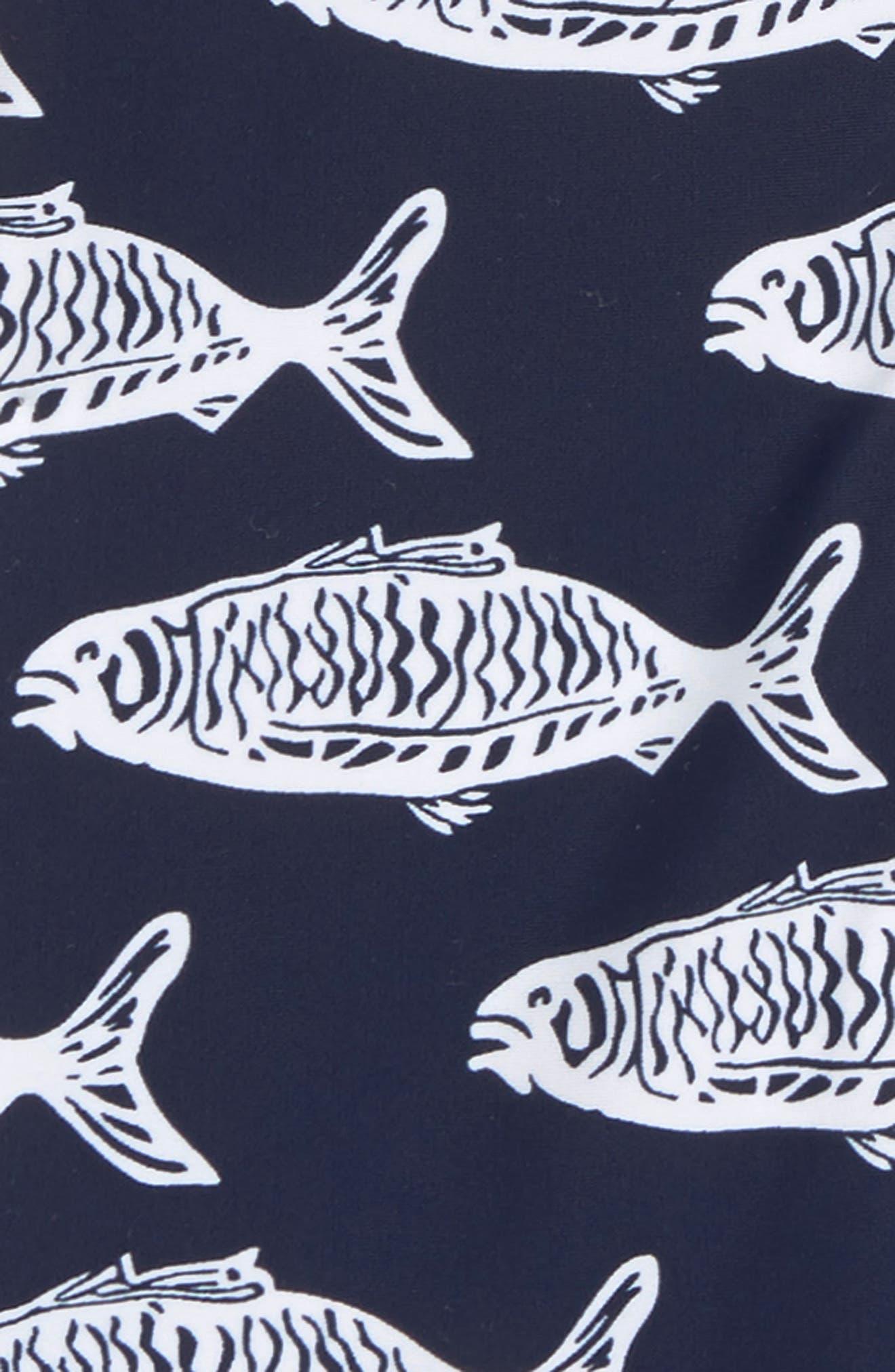 Hampton Fish One-Piece Rashguard Swimsuit,                             Alternate thumbnail 2, color,                             BLUE
