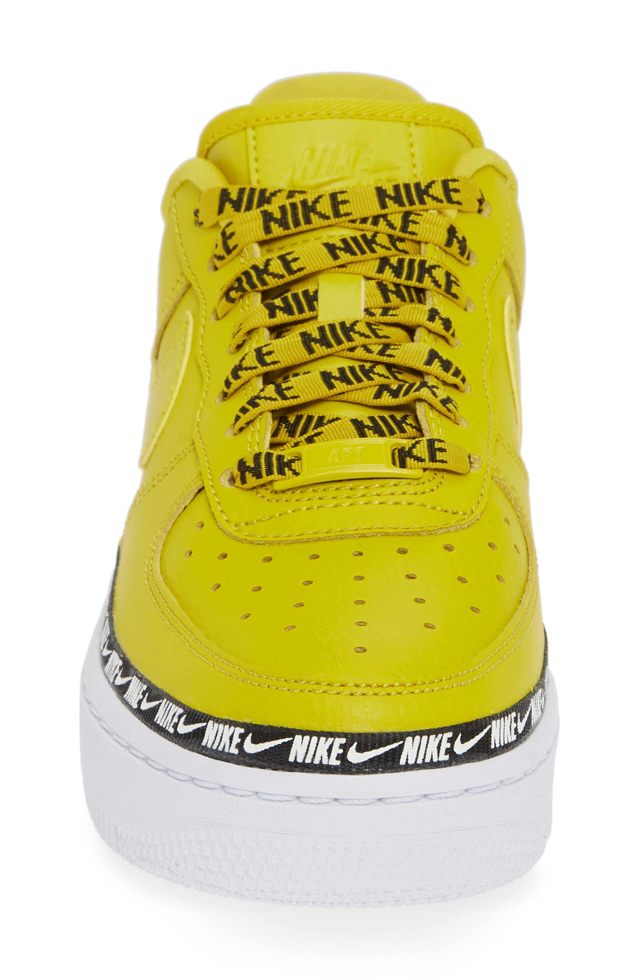 Air Force 1 '07 SE Premium Sneaker,                             Alternate thumbnail 4, color,                             BRIGHT CITRON/ BLACK/ WHITE