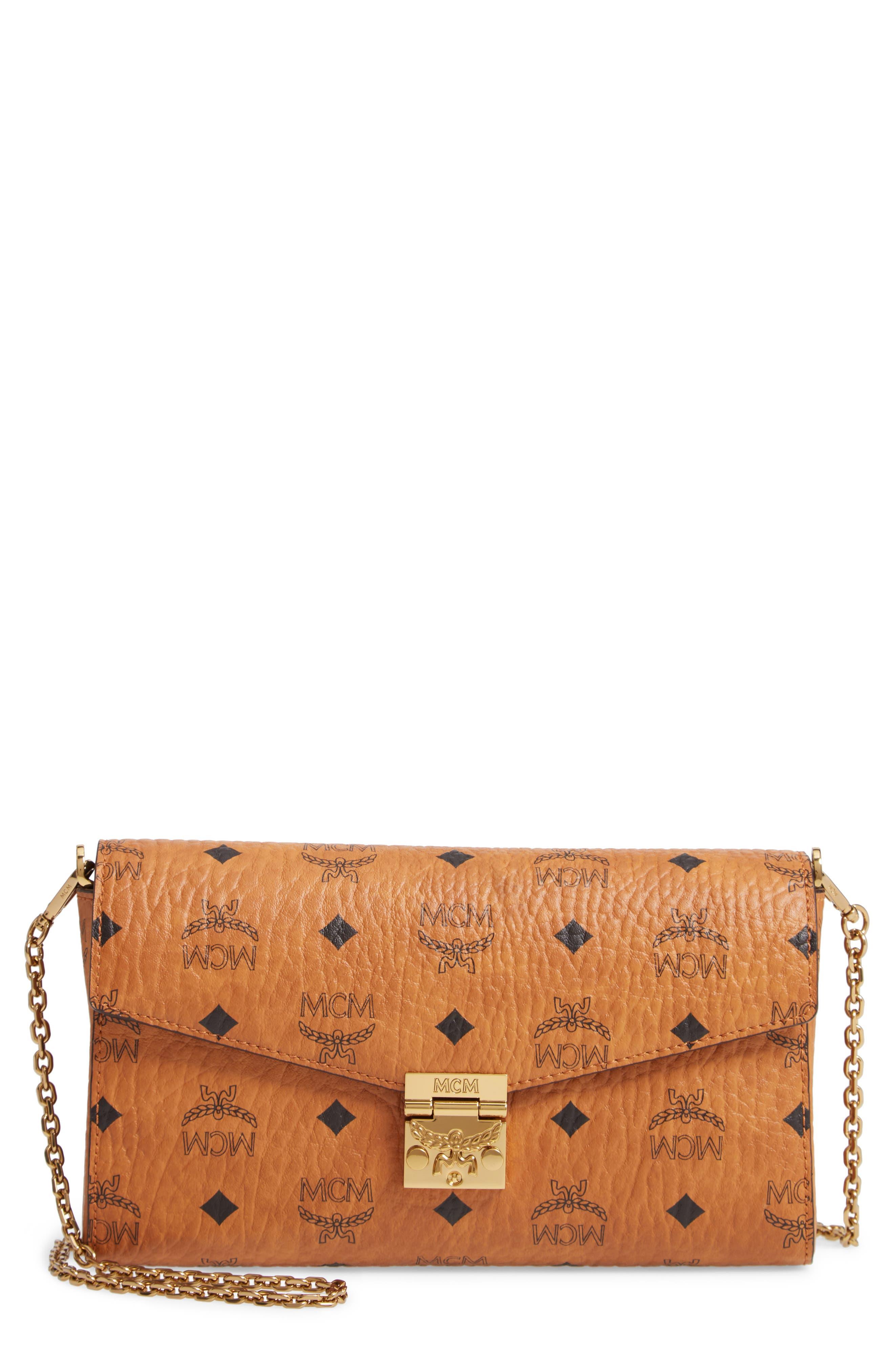 Millie Monogrammed Leather Crossbody Bag, Main, color, COGNAC BROWN