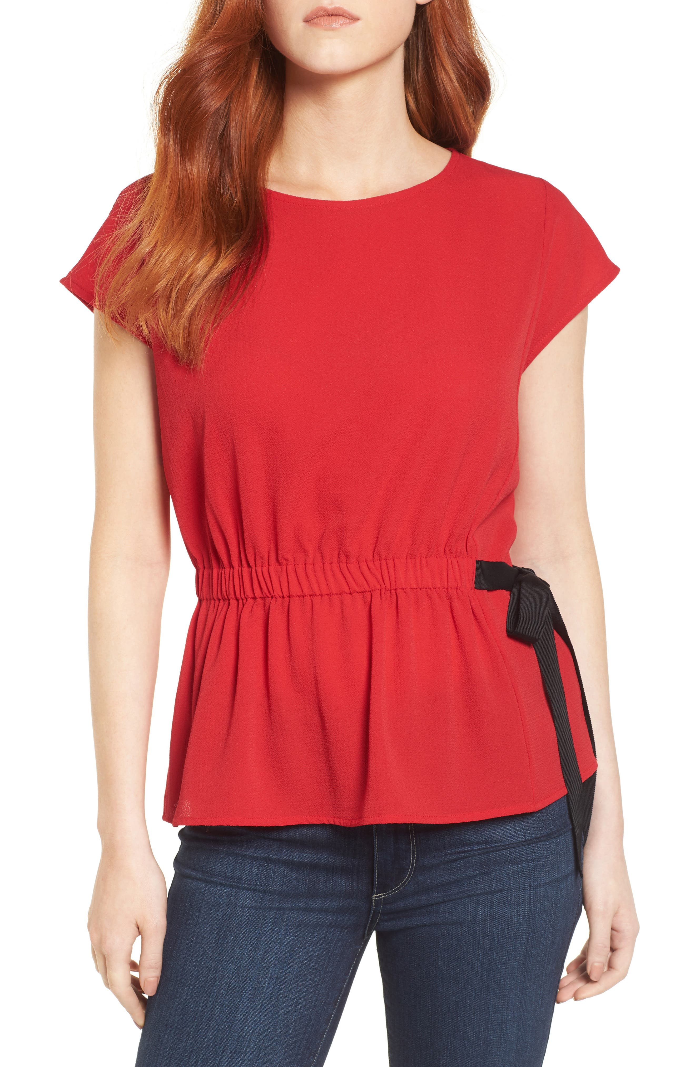 Gathered Waist Side Tie Top,                             Main thumbnail 6, color,