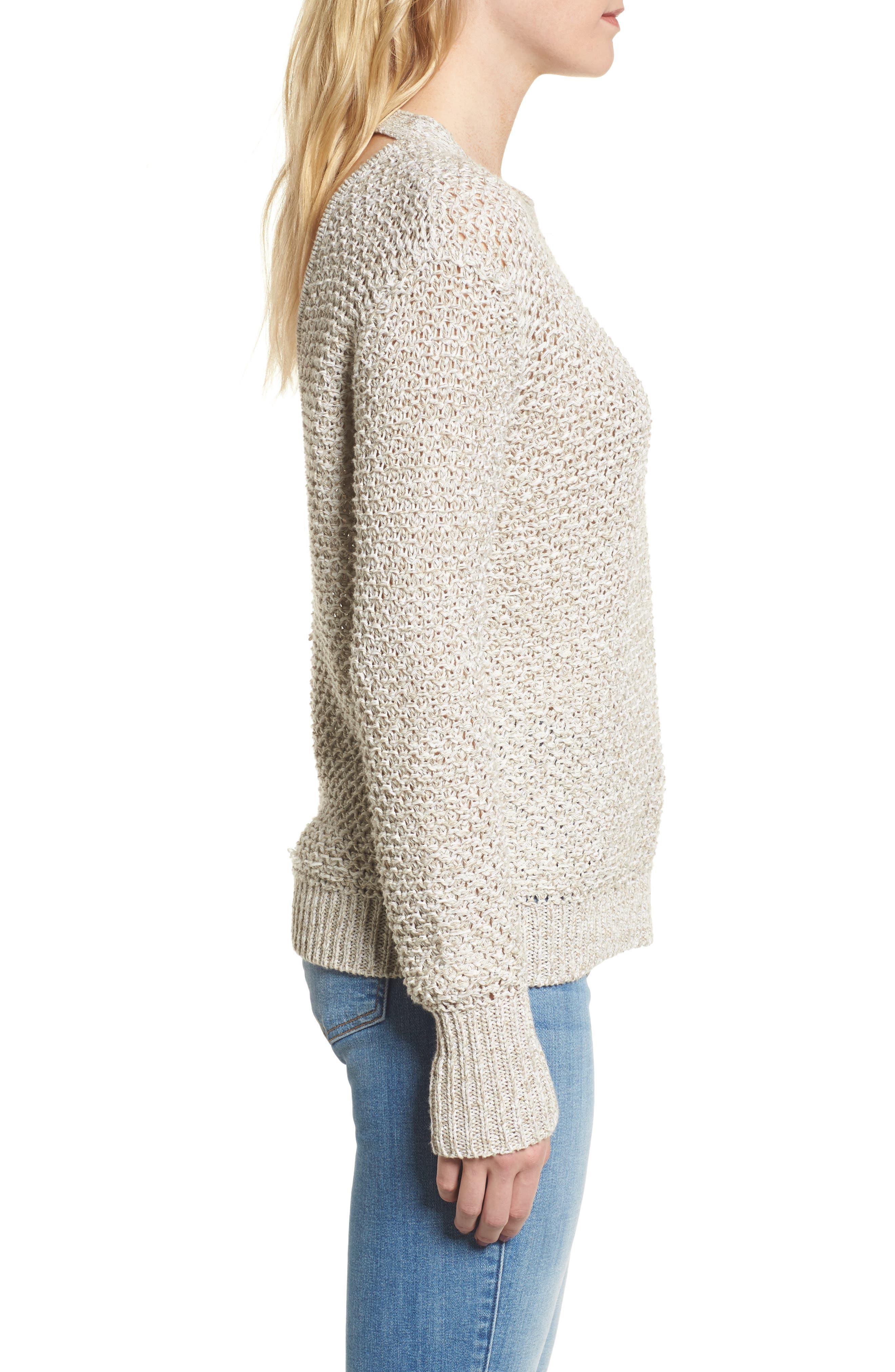 Mélange Open Back Sweater,                             Alternate thumbnail 3, color,                             238