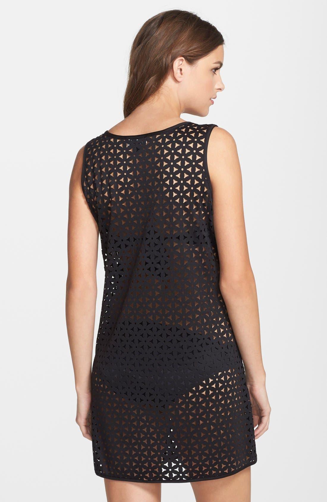 Laser Cut Cover-Up Tank Dress,                             Alternate thumbnail 3, color,                             001
