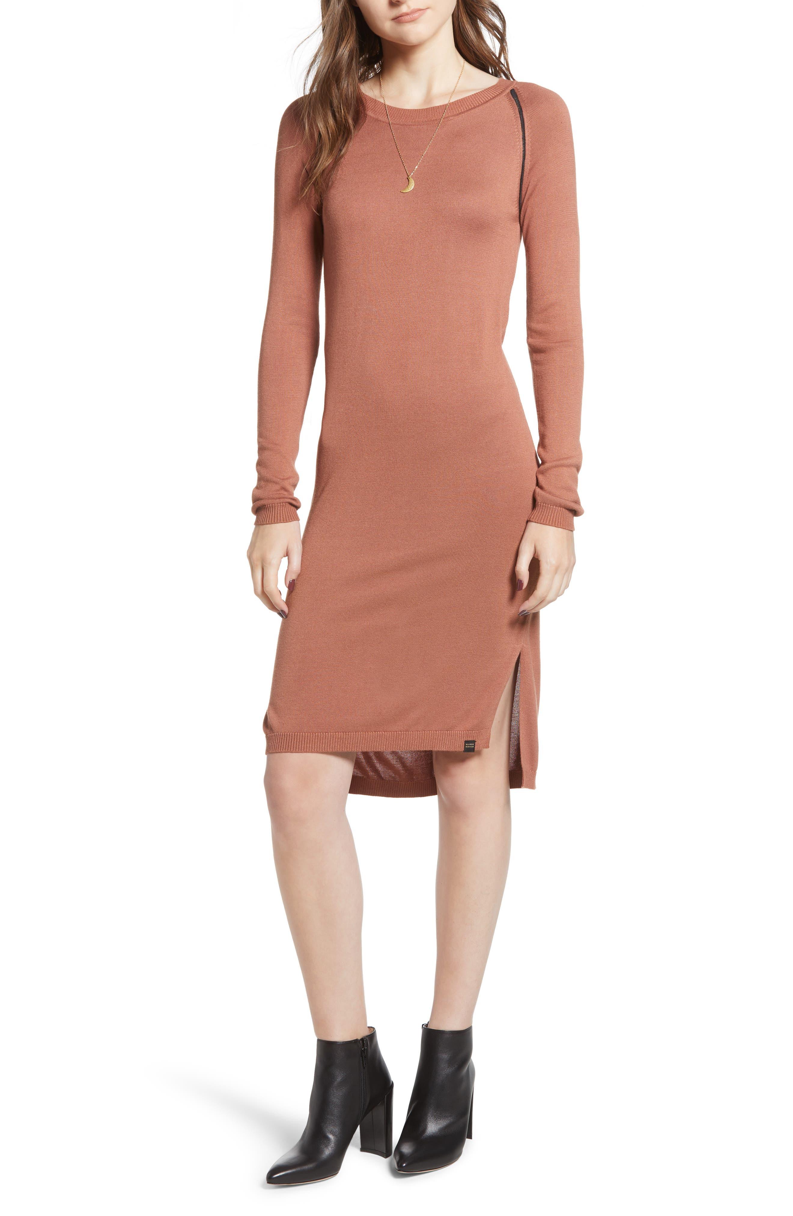 Ladder Inset Sweater Dress,                         Main,                         color, VINTAGE ROSE