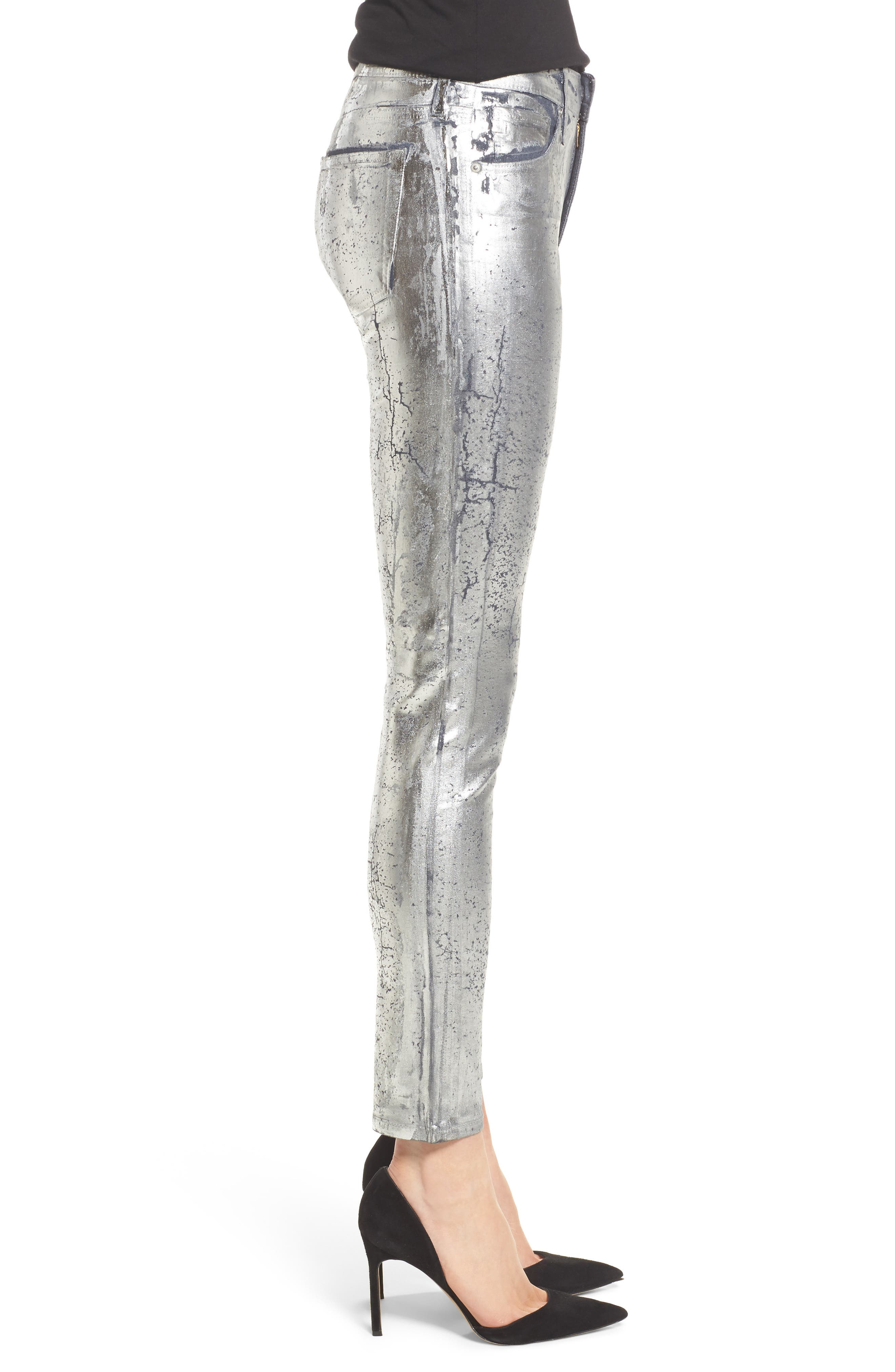 AG,                             Farrah High Waist Ankle Skinny Jeans,                             Alternate thumbnail 3, color,                             ICED SILVER