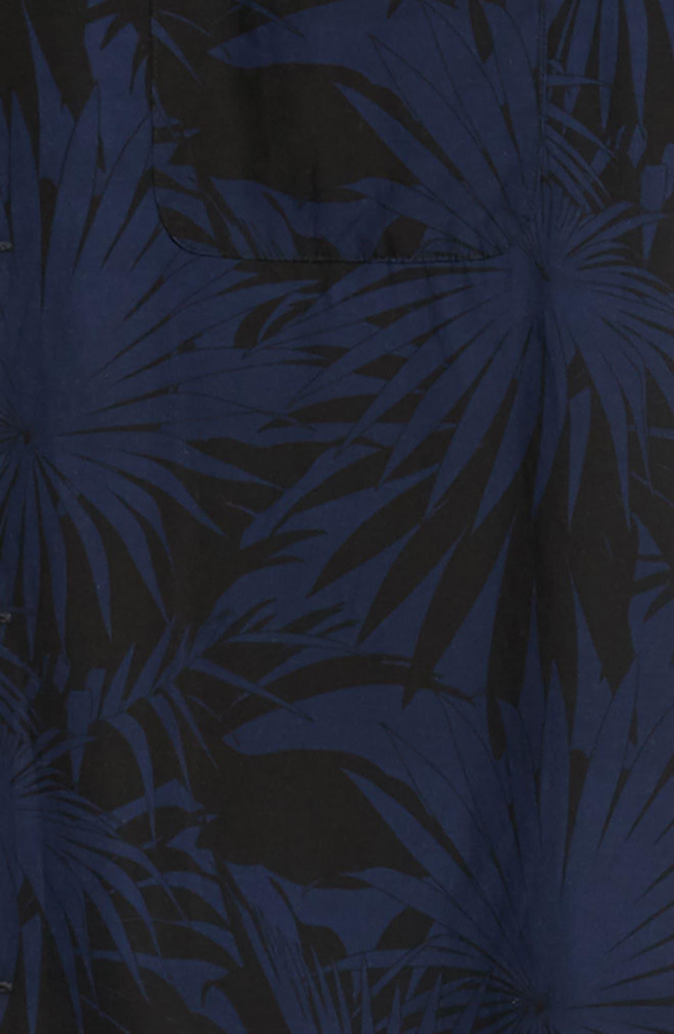 Palm Leaf Cabana Woven Shirt,                             Alternate thumbnail 6, color,                             001