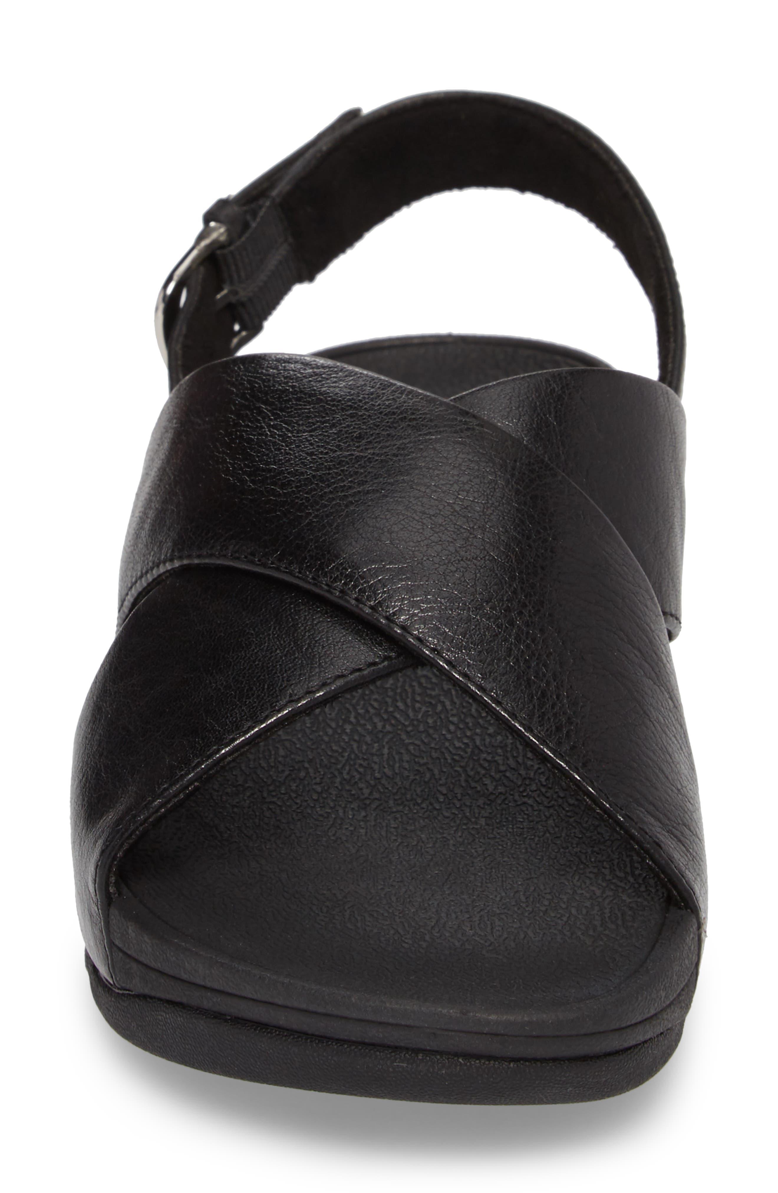 Lulu Crisscross Sandal,                             Alternate thumbnail 4, color,                             BLACK