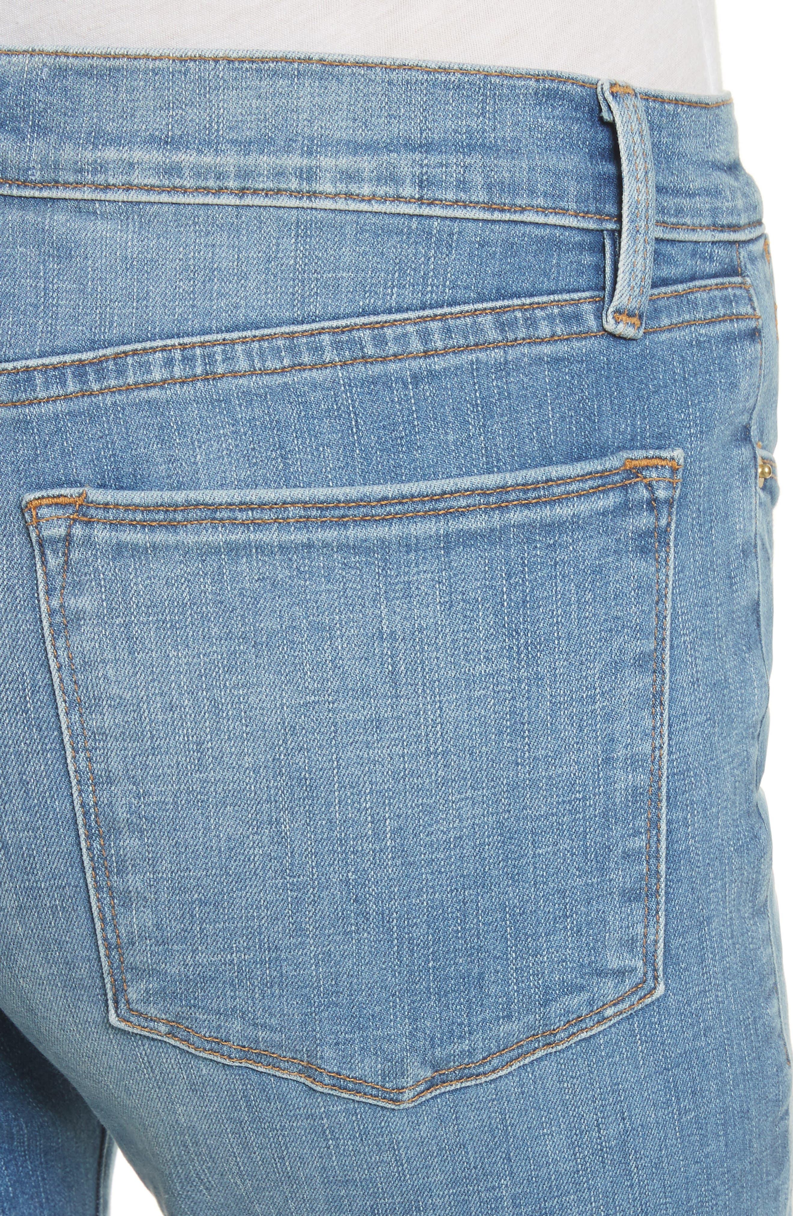 Le High Straight High Waist Triangle Hem Jeans,                             Alternate thumbnail 4, color,                             450