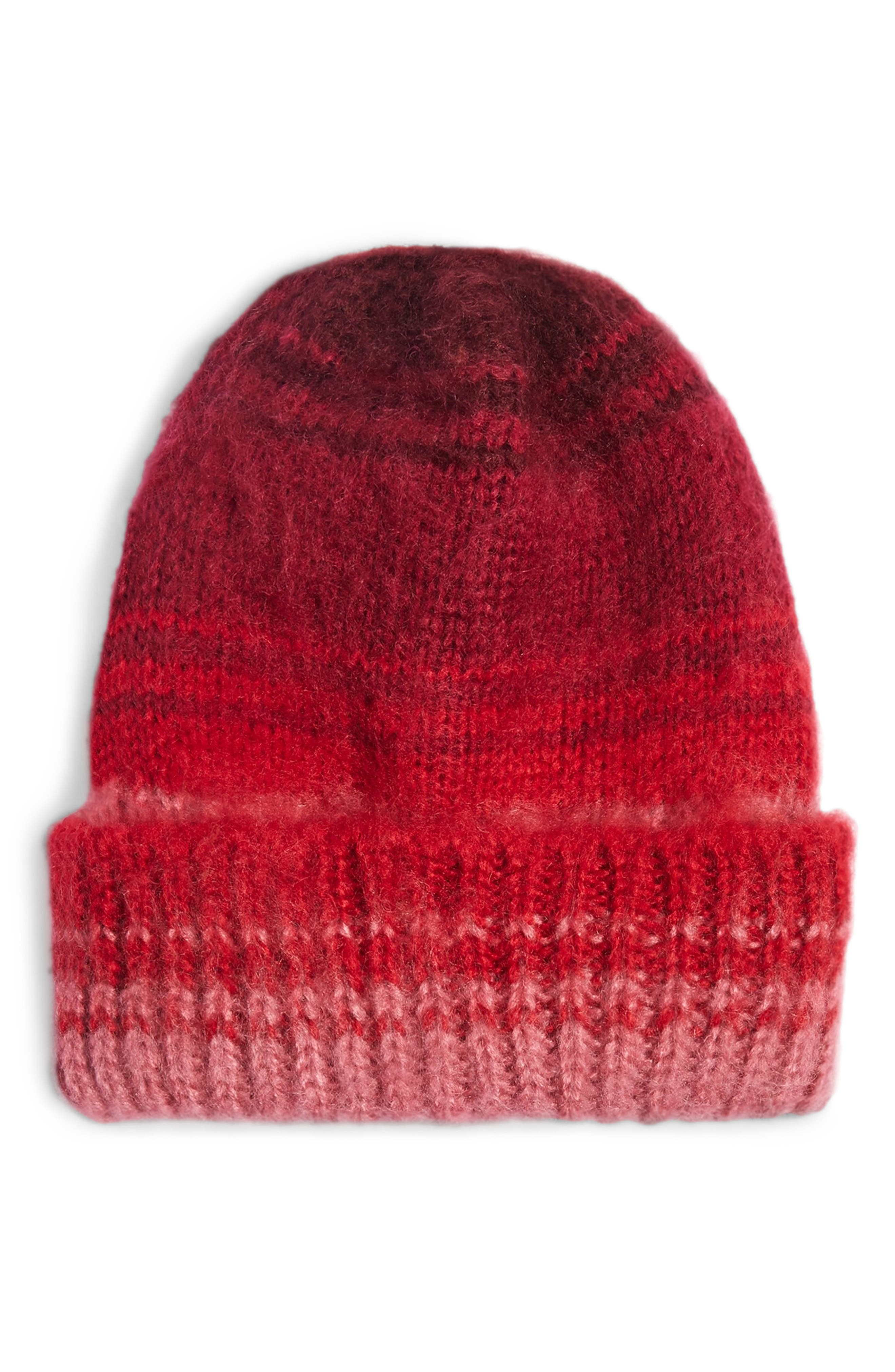 Topshop Brushed Ombre Beanie - Red
