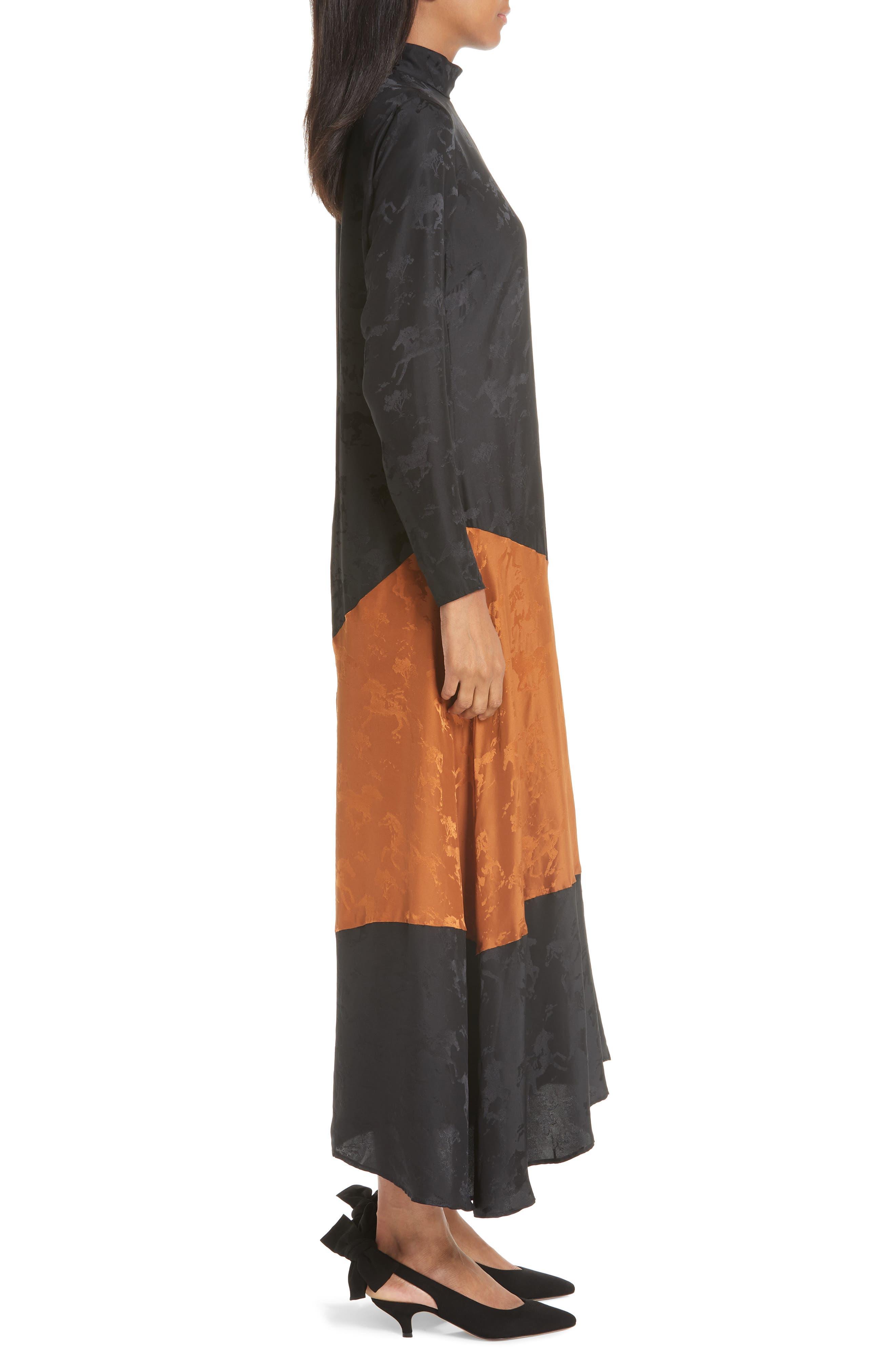 Silk Jacquard Dress,                             Alternate thumbnail 3, color,                             BLACK 099