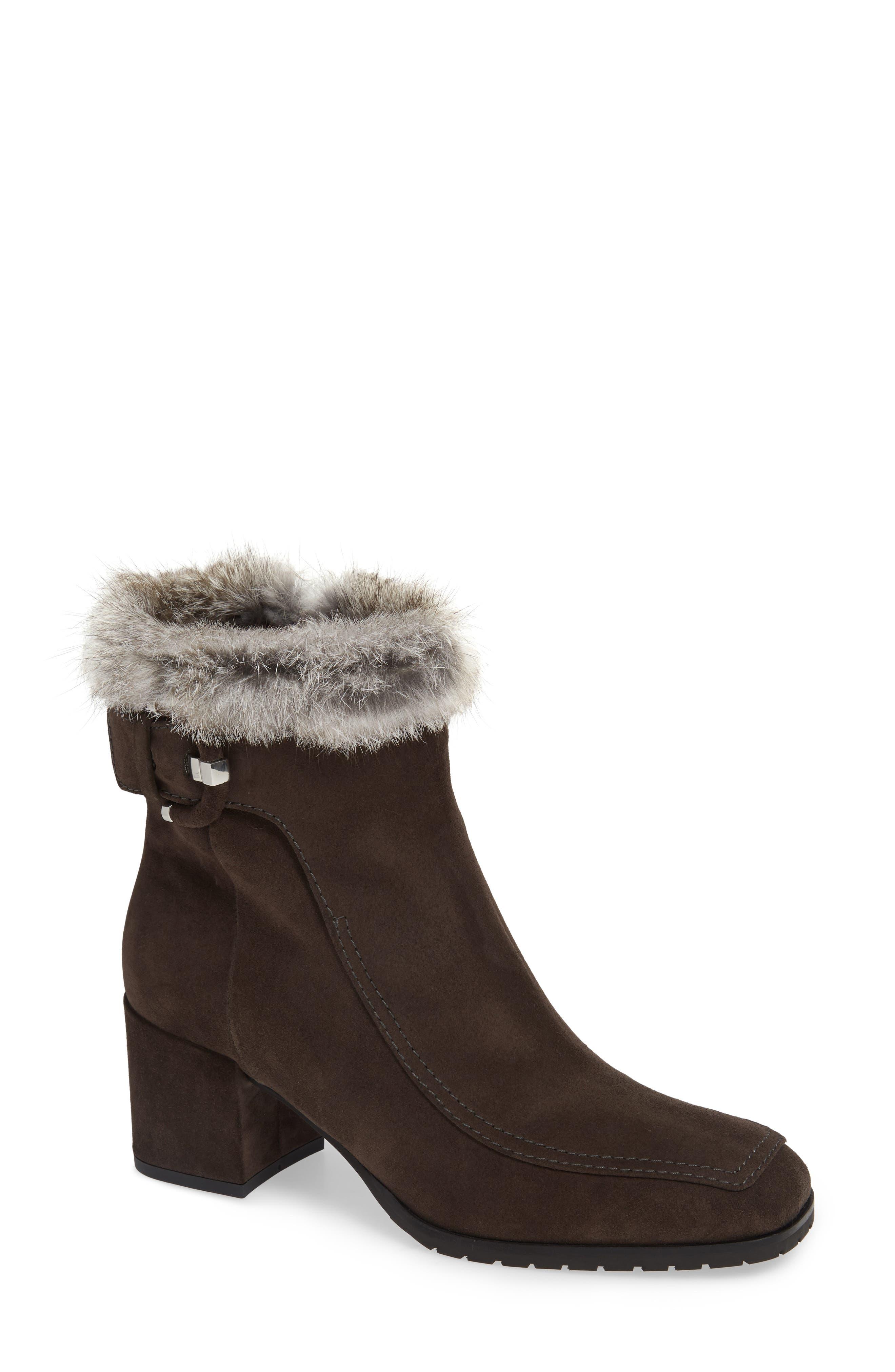 Aquatalia Water Resistant Genuine Rabbit Fur Trim Block Heel Bootie- Grey