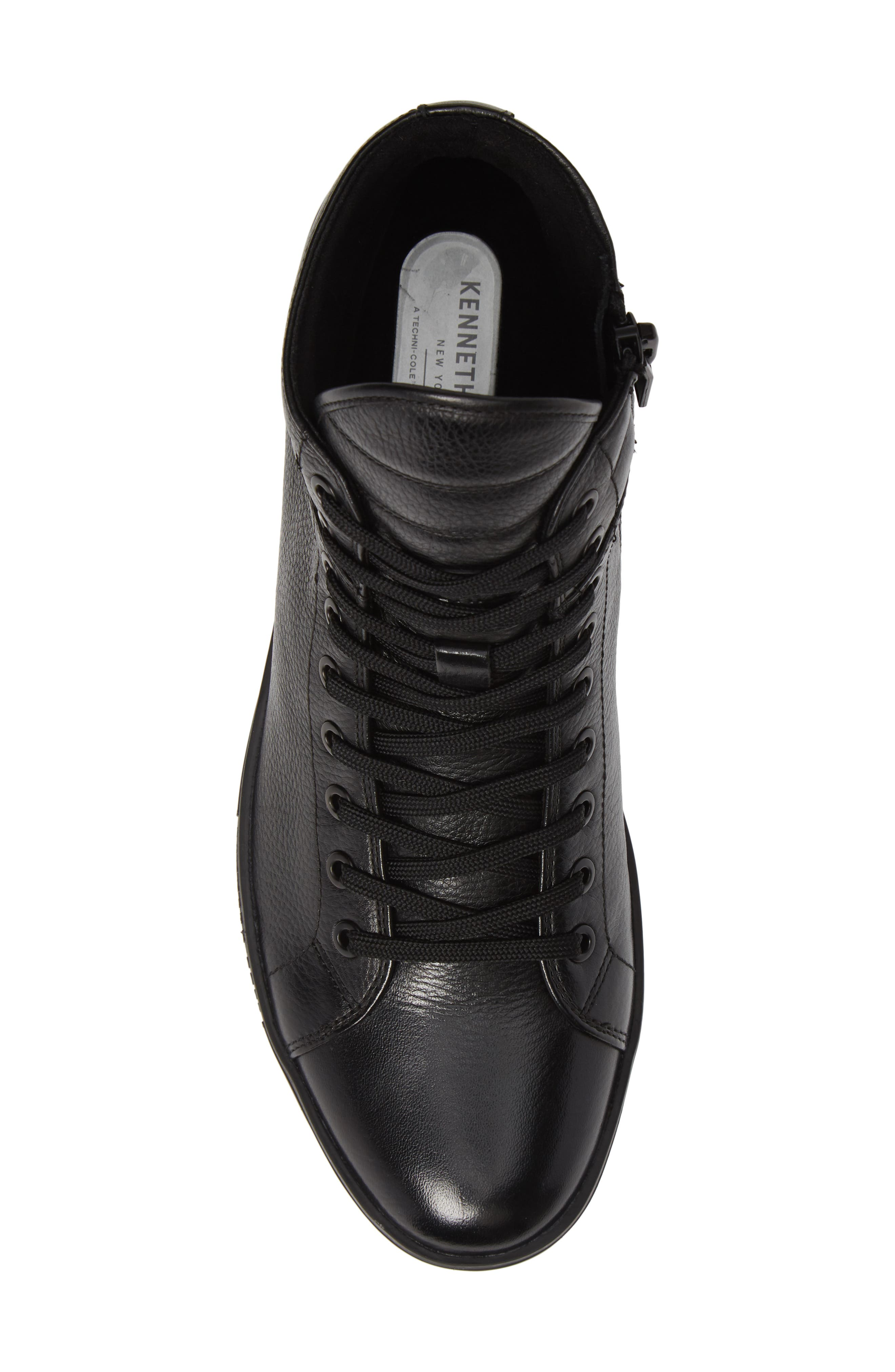 Brand F Sneaker,                             Alternate thumbnail 5, color,                             BLACK LEATHER