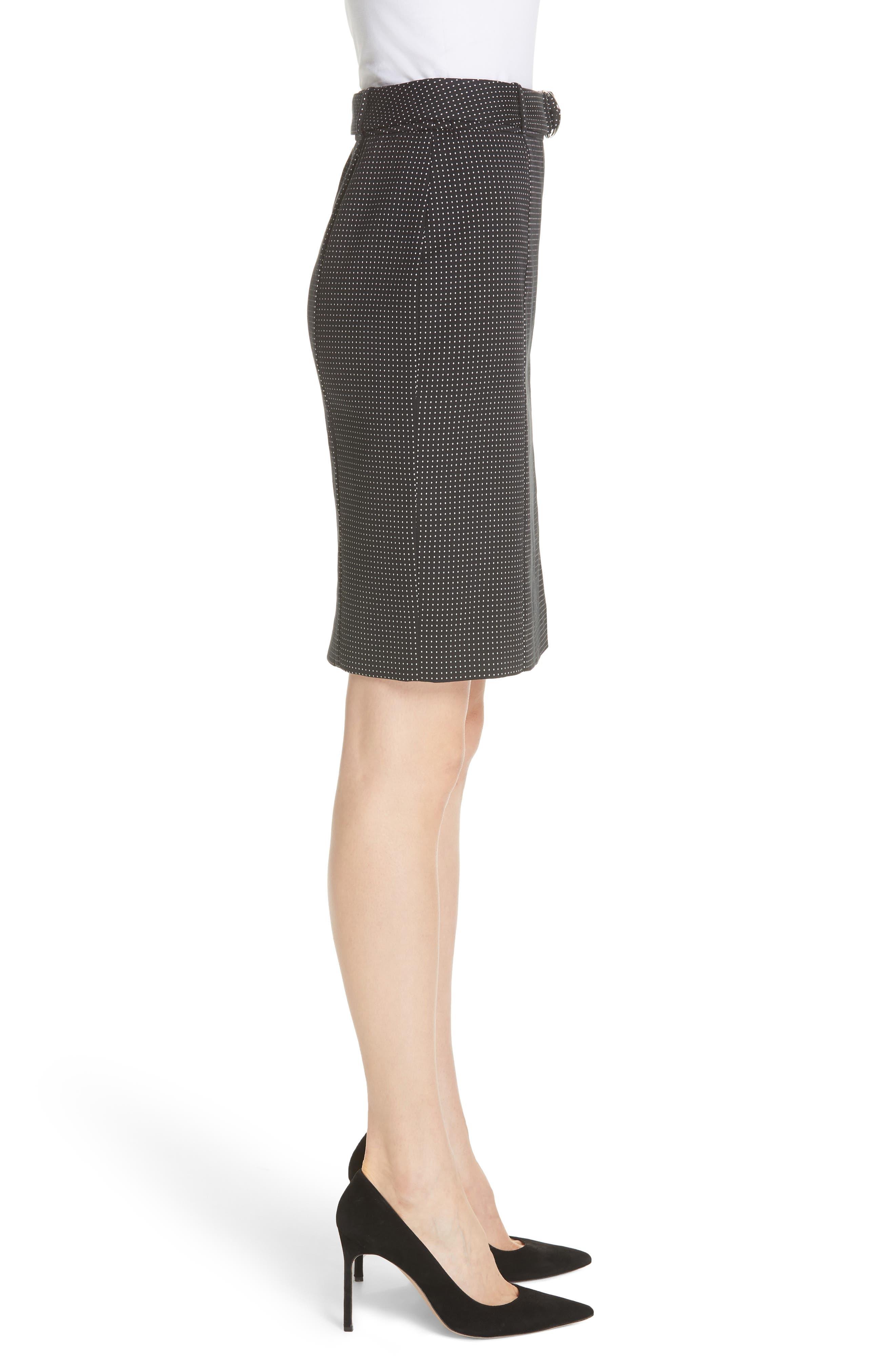 Vumano Dot Dessin Stretch Suit Skirt,                             Alternate thumbnail 3, color,                             BLACK FANTASY