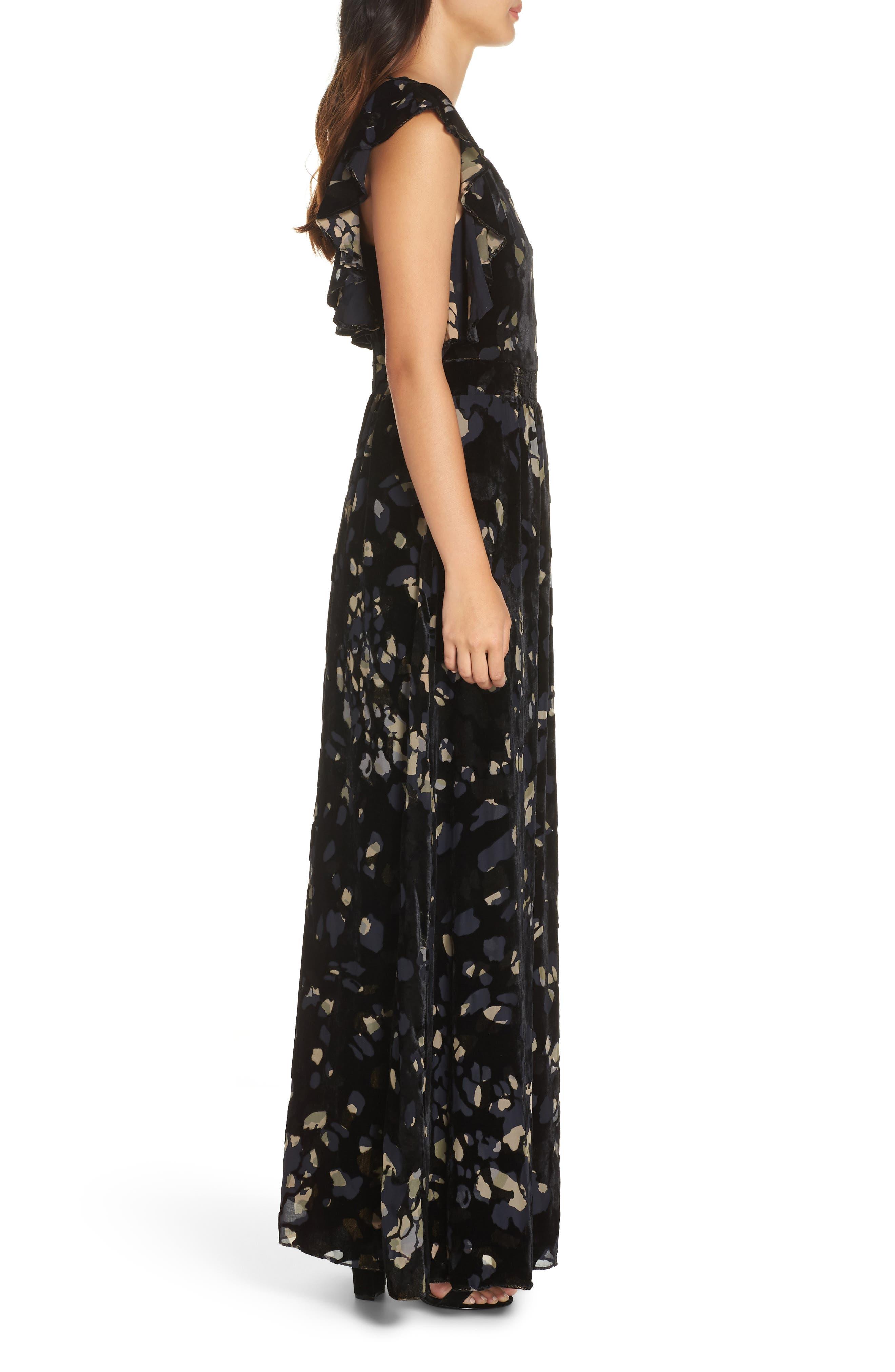 Velvet Maxi Dress,                             Alternate thumbnail 3, color,                             001