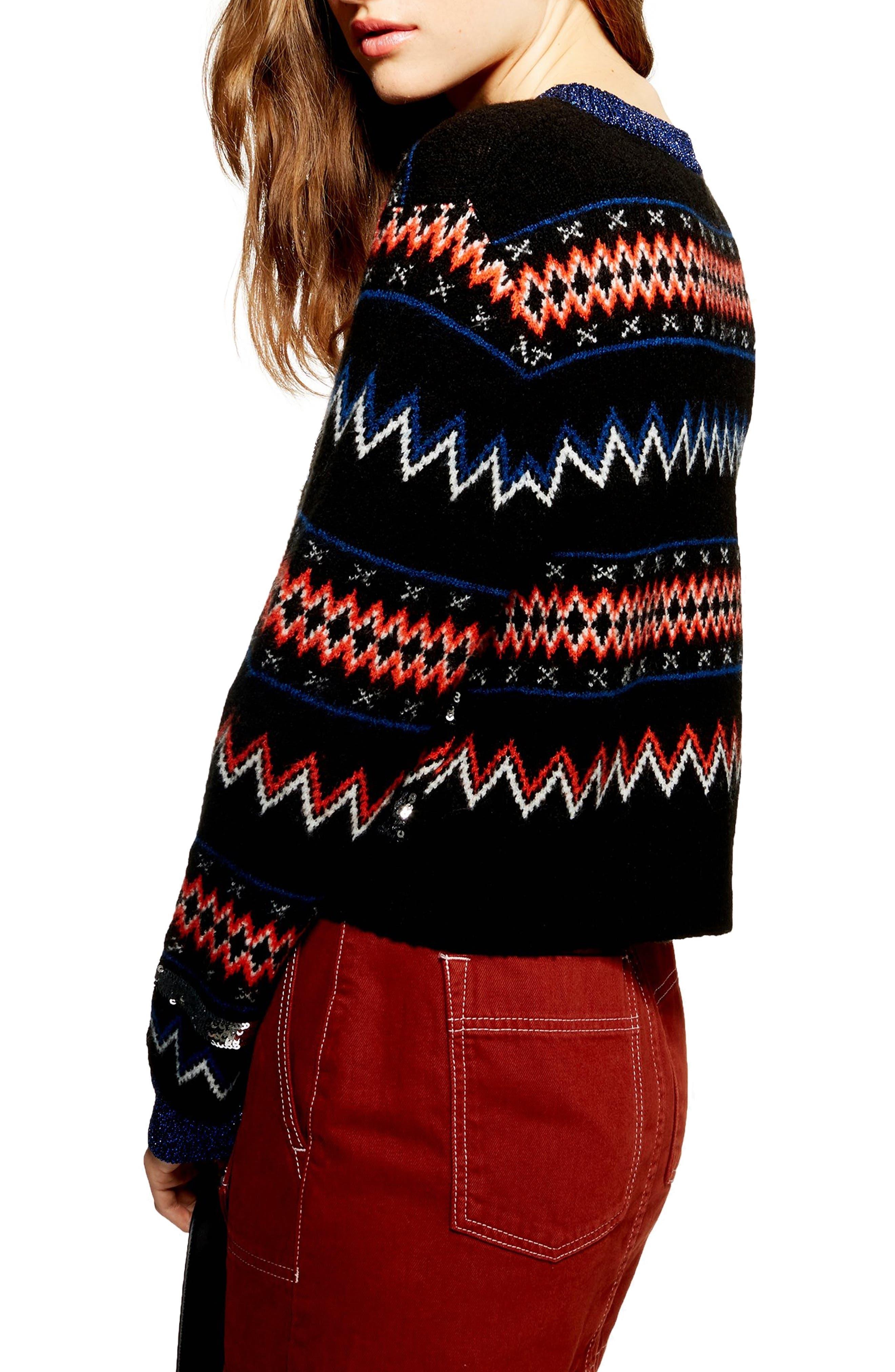 Sequin Stripe Fair Isle Sweater,                             Alternate thumbnail 2, color,                             BLACK MULTI